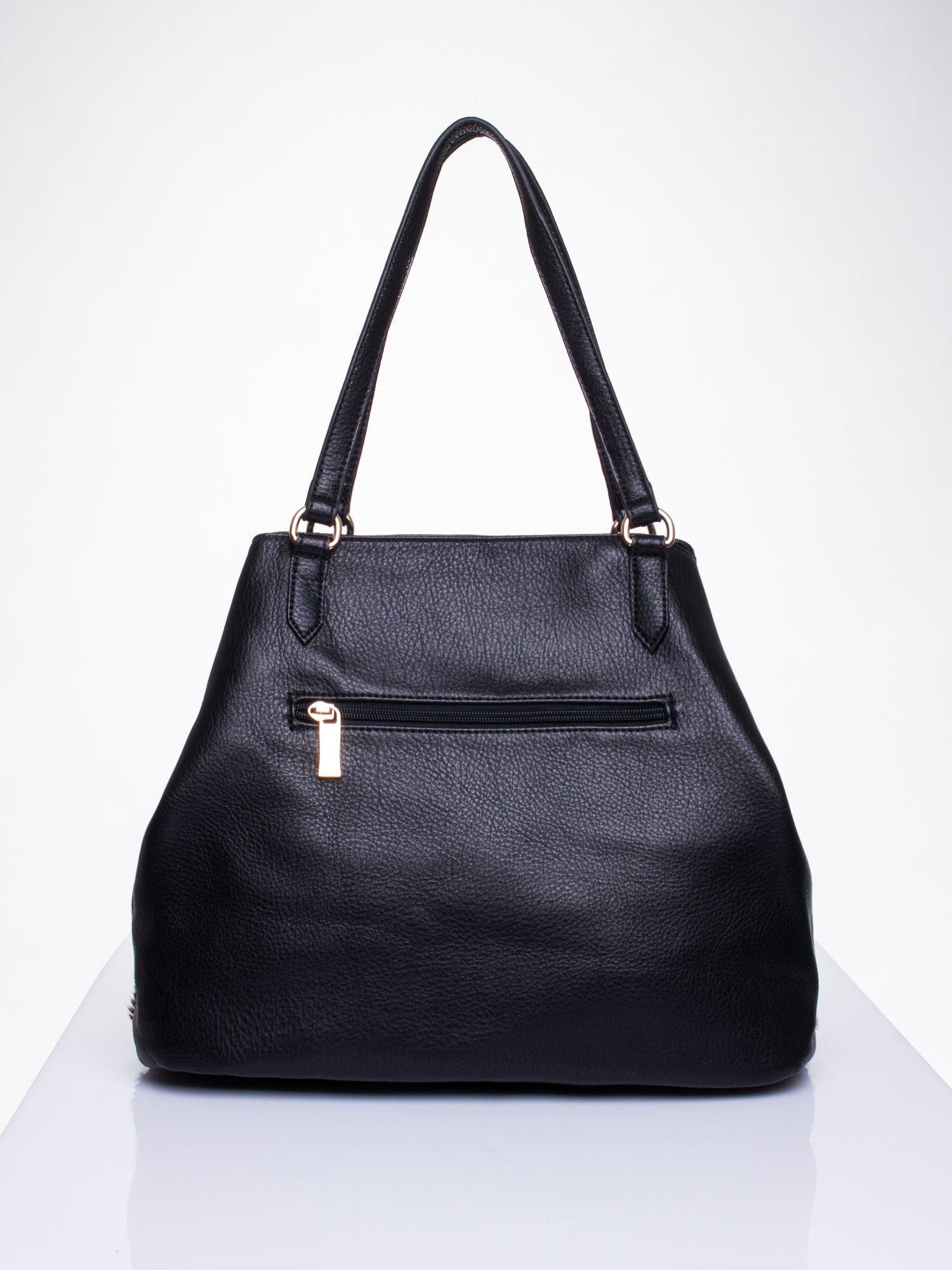Czarna torba z panterkowym motywem                                  zdj.                                  2