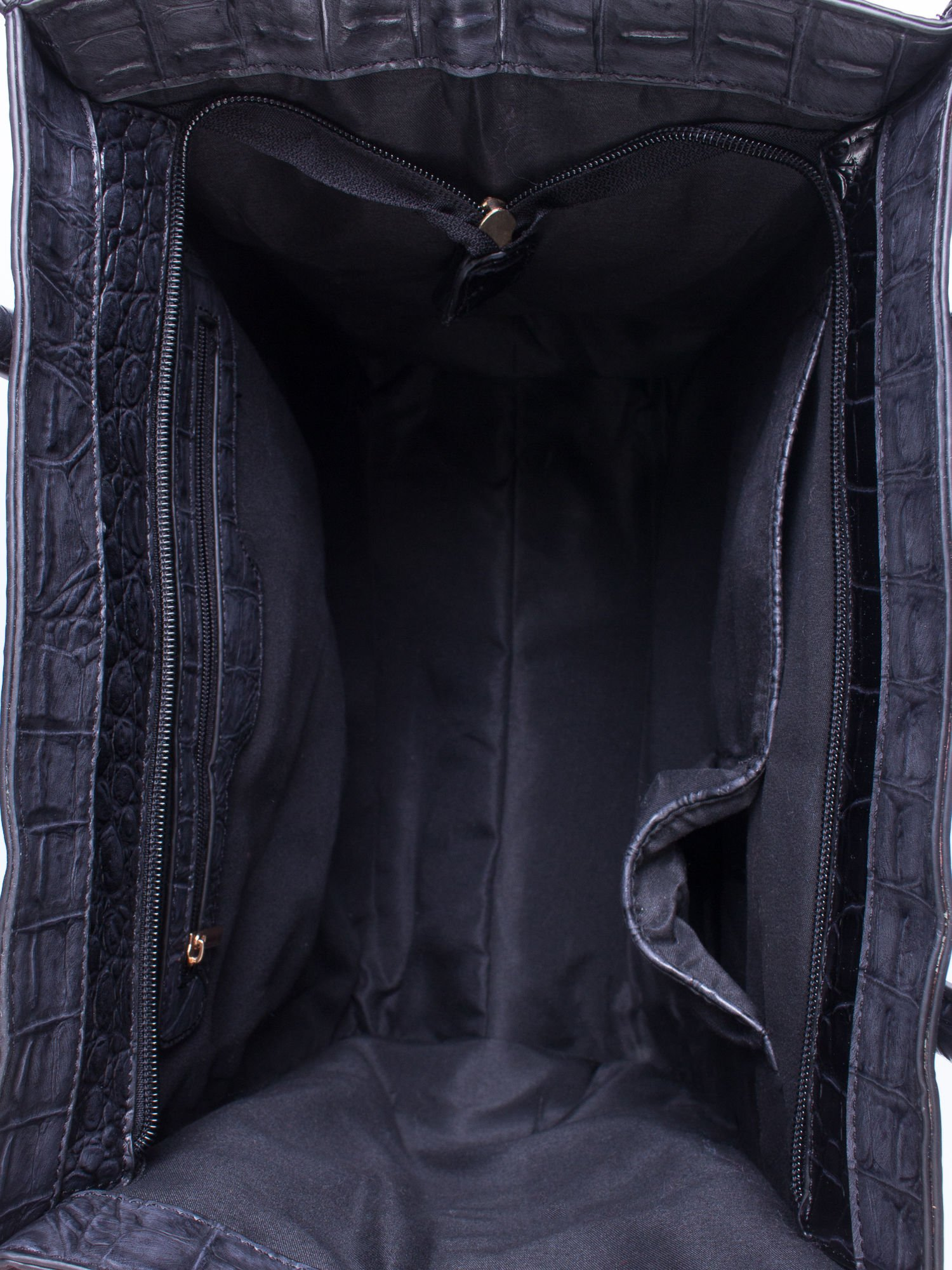 Czarna trapezowa torba miejska z efektem skóry krokodyla                                  zdj.                                  4