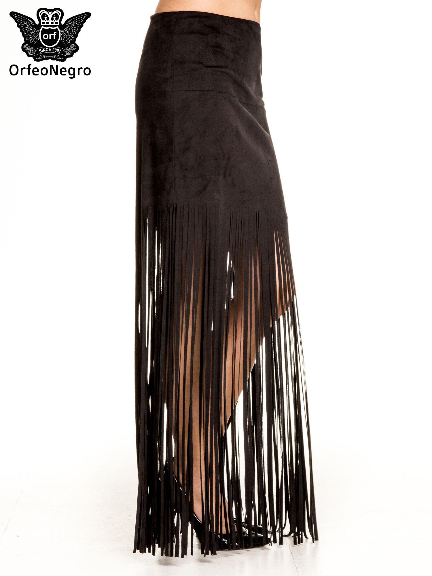 Czarna zamszowa spódnica maxi z frędzlami                                  zdj.                                  3