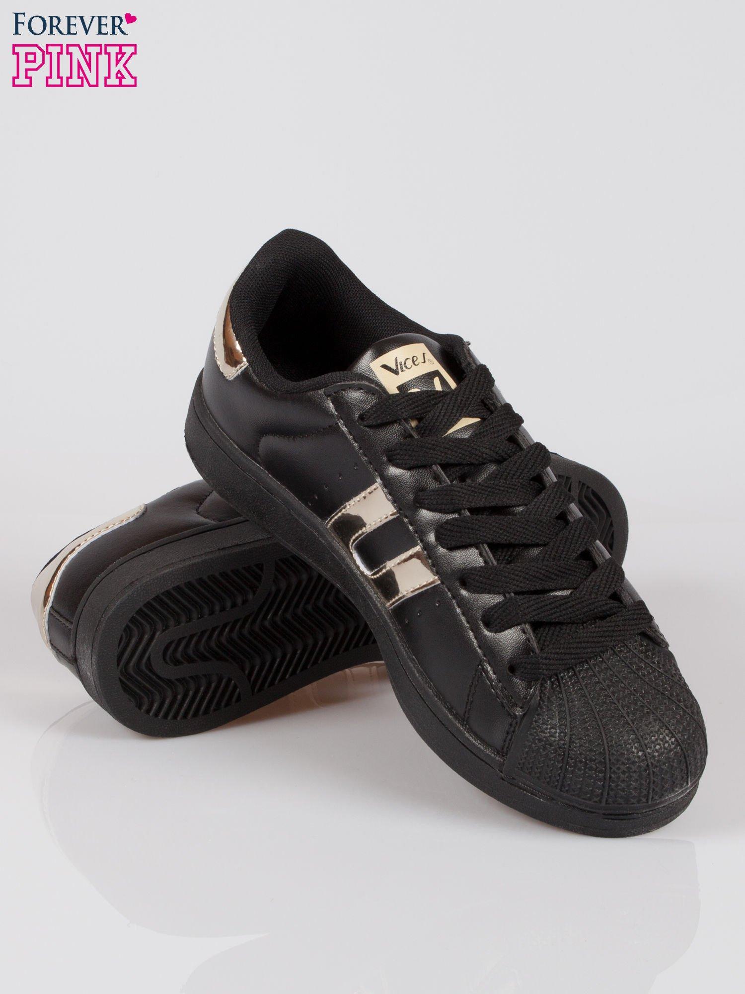 Czarne adidasy damskie ze złotą wstawką                                  zdj.                                  4