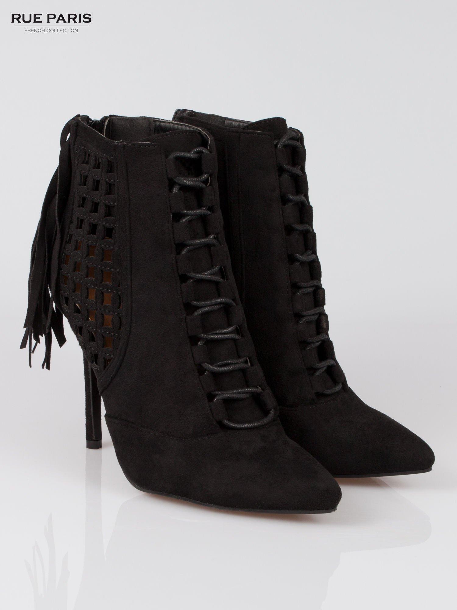 Czarne ażurowe botki faux suede Florence z frędzlami                                  zdj.                                  2