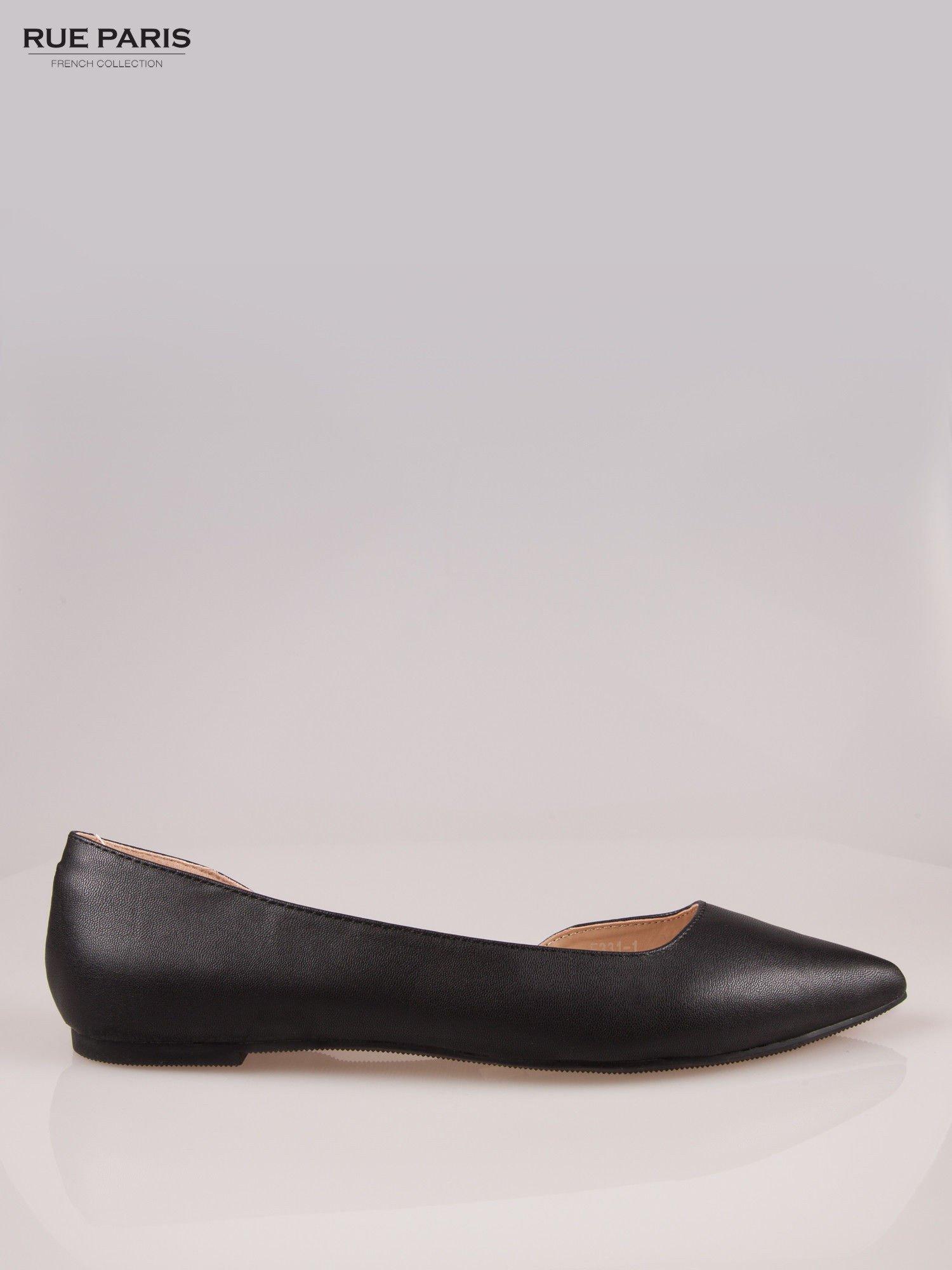 Czarne baleriny faux leather Cookie w szpic z wycięciem z boku                                  zdj.                                  1