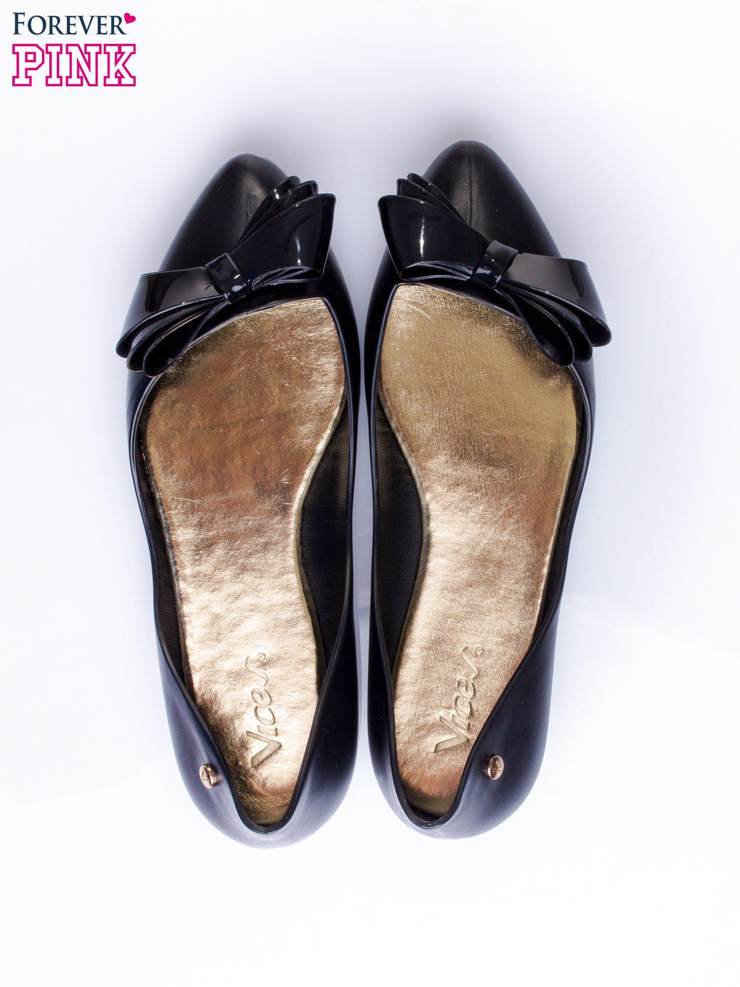 Czarne baleriny silicone Naomi gumowe z kokardą                                  zdj.                                  6