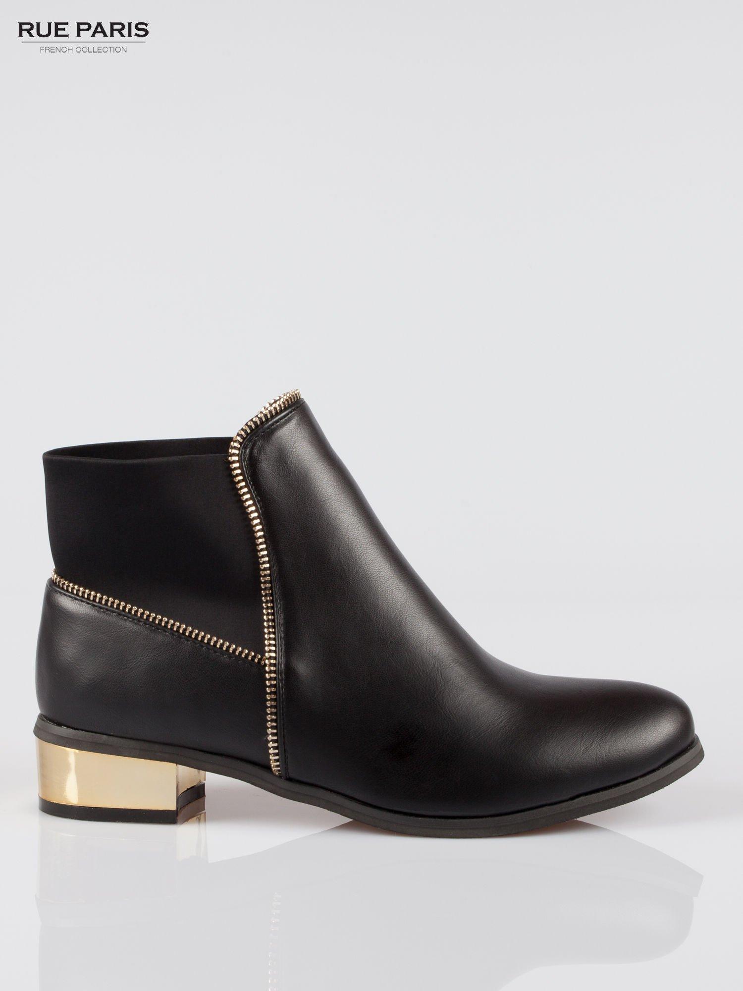 Czarne botki ankle boots z zamkiem i złotym obcasem                                  zdj.                                  1
