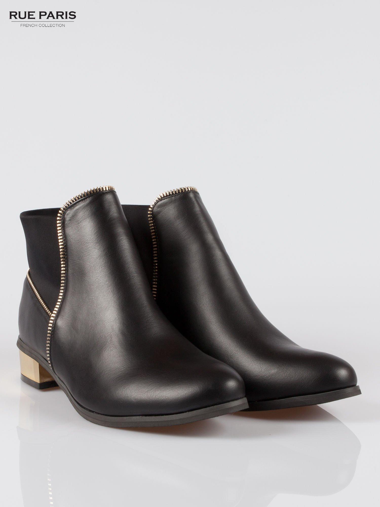 Czarne botki ankle boots z zamkiem i złotym obcasem                                  zdj.                                  2