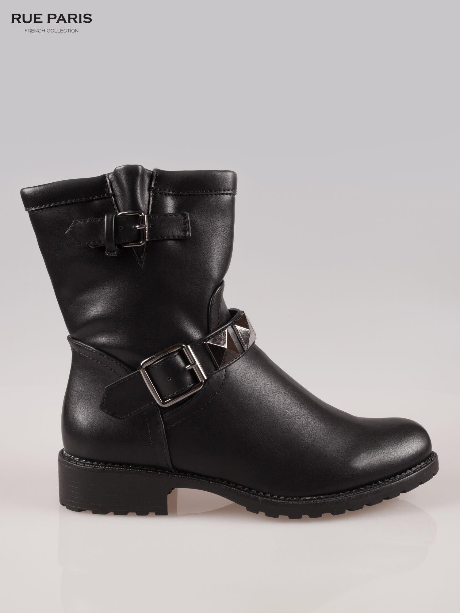 Czarne botki biker boots z klamerkami                                  zdj.                                  1