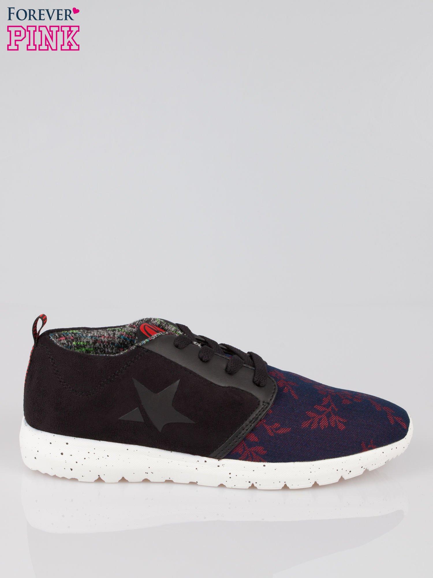 Czarne buty sportowe double material Naughty z zamszu i denimu                                  zdj.                                  1