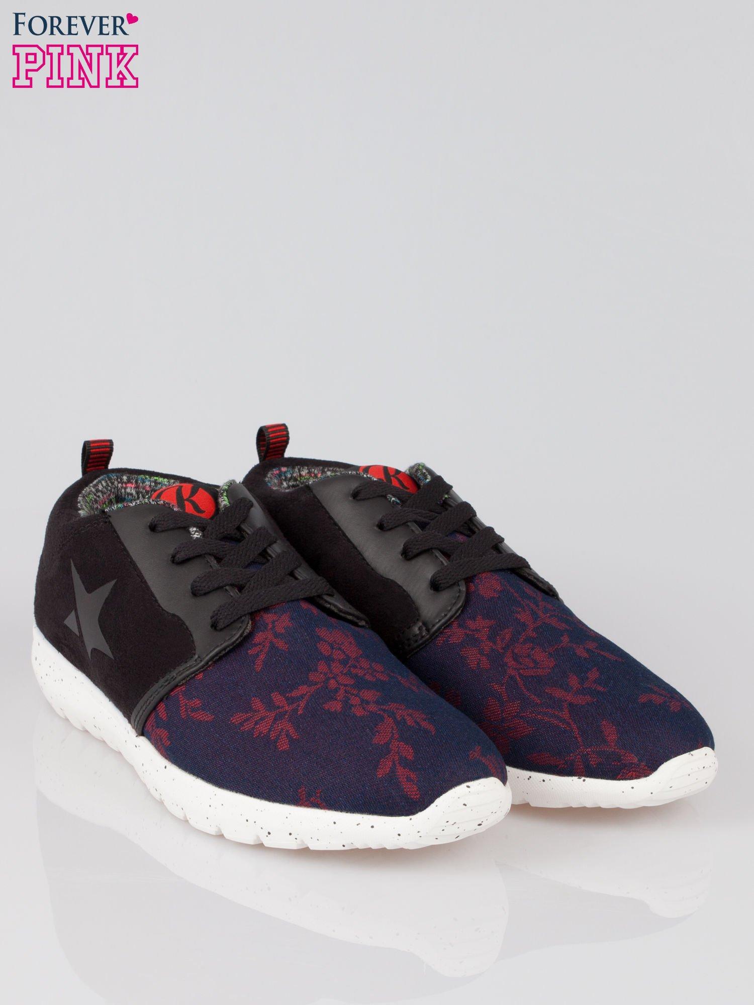 Czarne buty sportowe double material Naughty z zamszu i denimu                                  zdj.                                  2