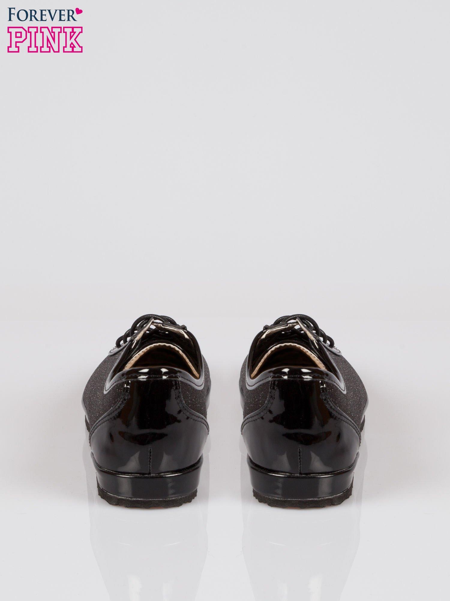 Czarne buty sportowe faux leather Adorable z efektem glitter                                  zdj.                                  3