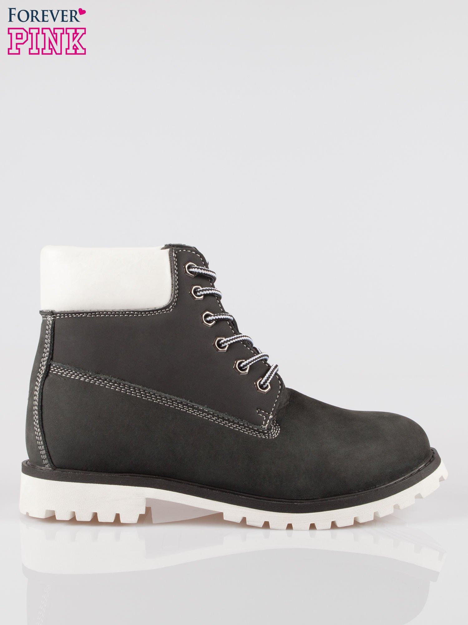 Czarne buty trekkingowe traperki damskie ze skóry naturalnej                                  zdj.                                  1
