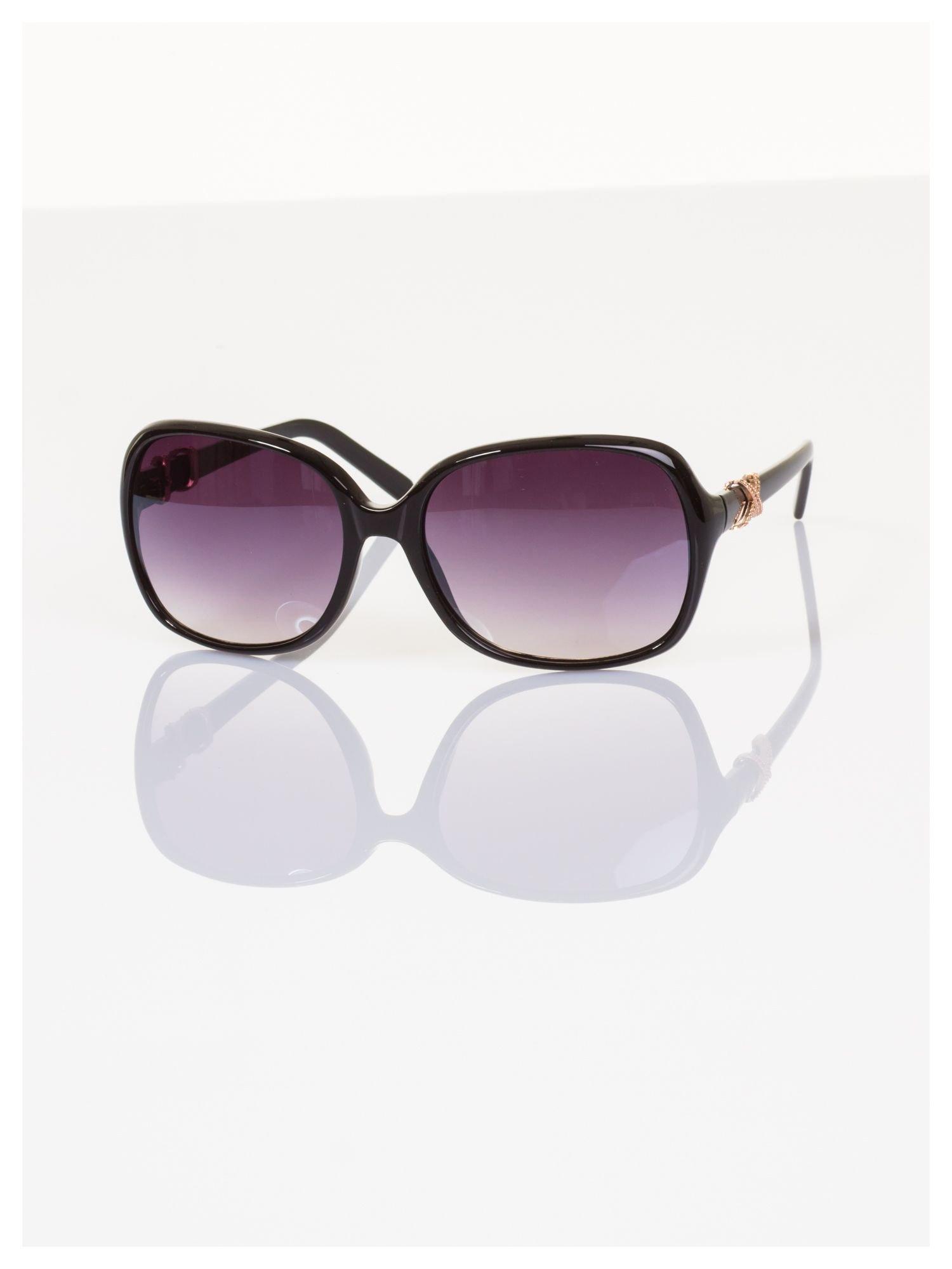 Czarne ekskluzywne duże okulary typu MUCHY ze złotym zdobieniem                                   zdj.                                  2