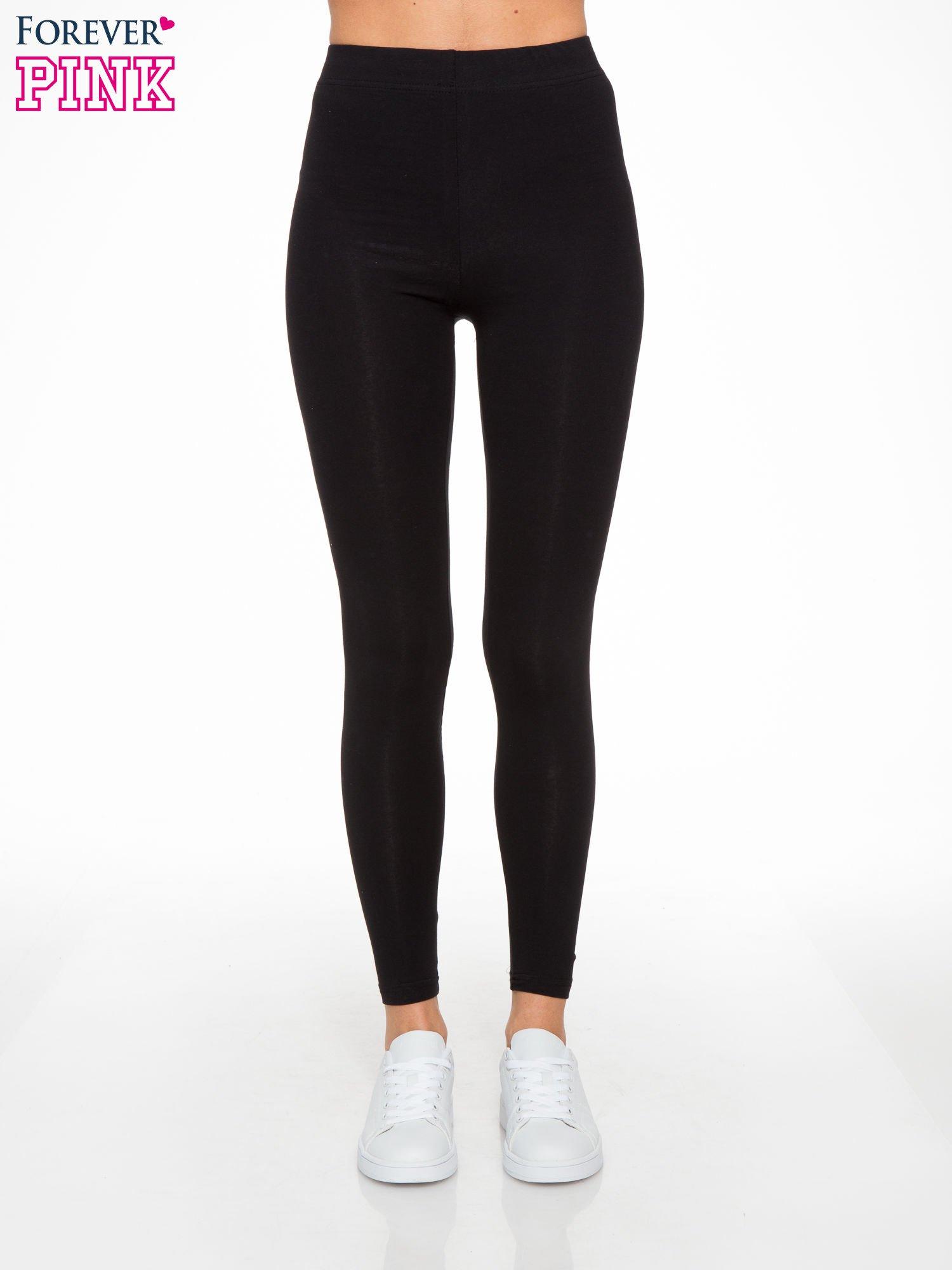16a71e9420c6e4 Czarne elastyczne legginsy damskie z bawełny - Spodnie legginsy ...