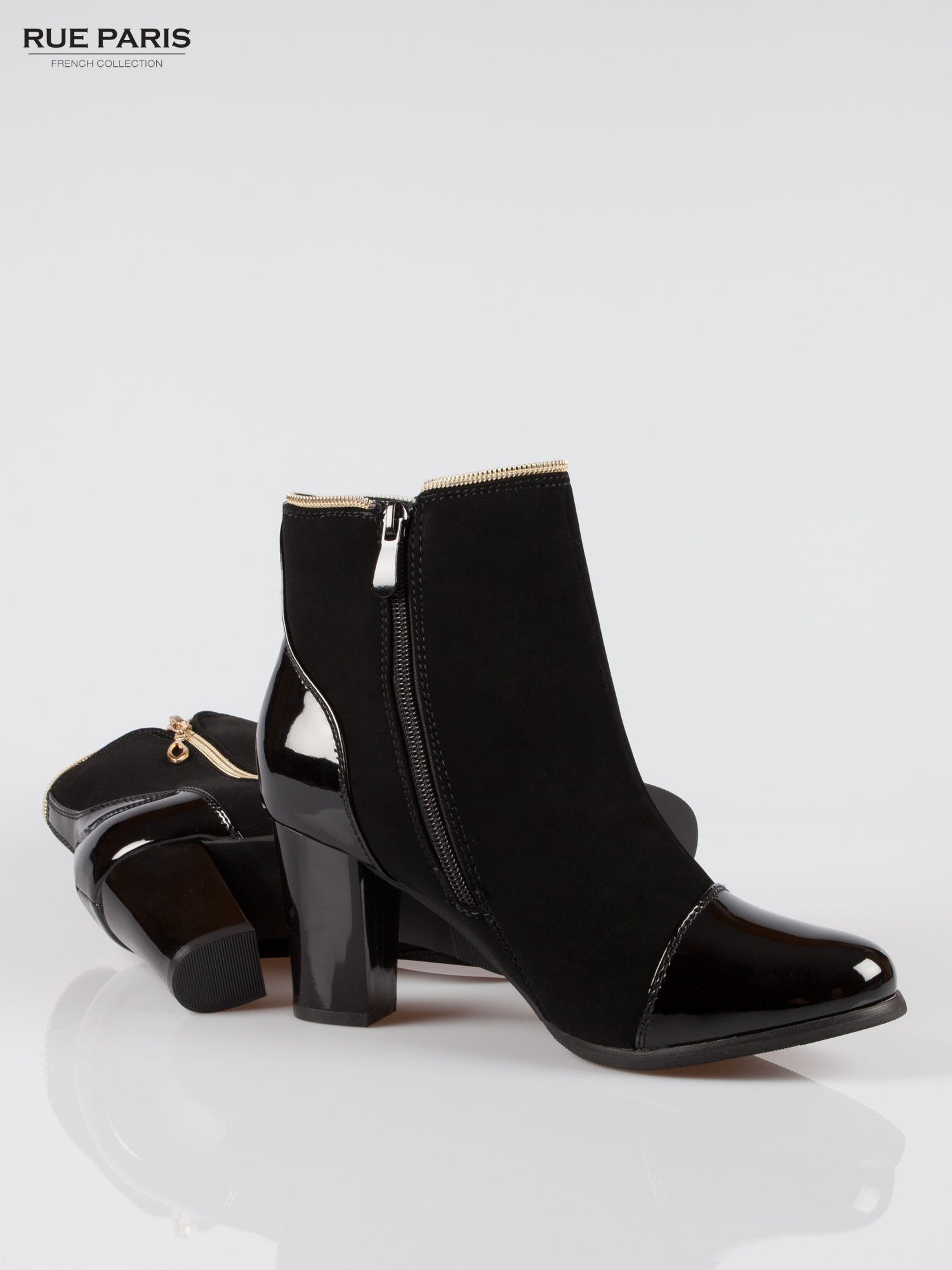 Czarne eleganckie botki na słupku z lakierowanym noskiem i złotym suwakiem                                  zdj.                                  4
