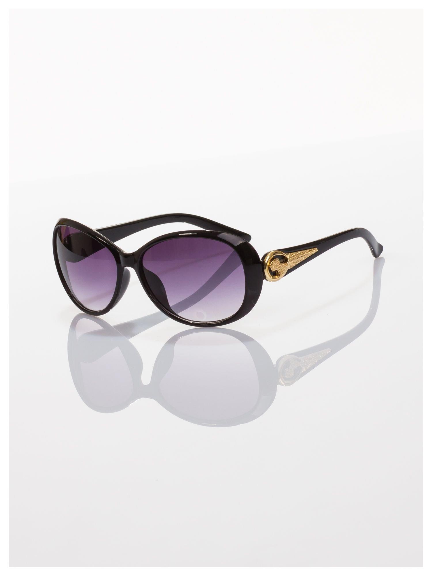Czarne eleganckie okulary ze złotym zdobieniem dla kobiet klasyczna oprawka z filtrami UV                                  zdj.                                  2
