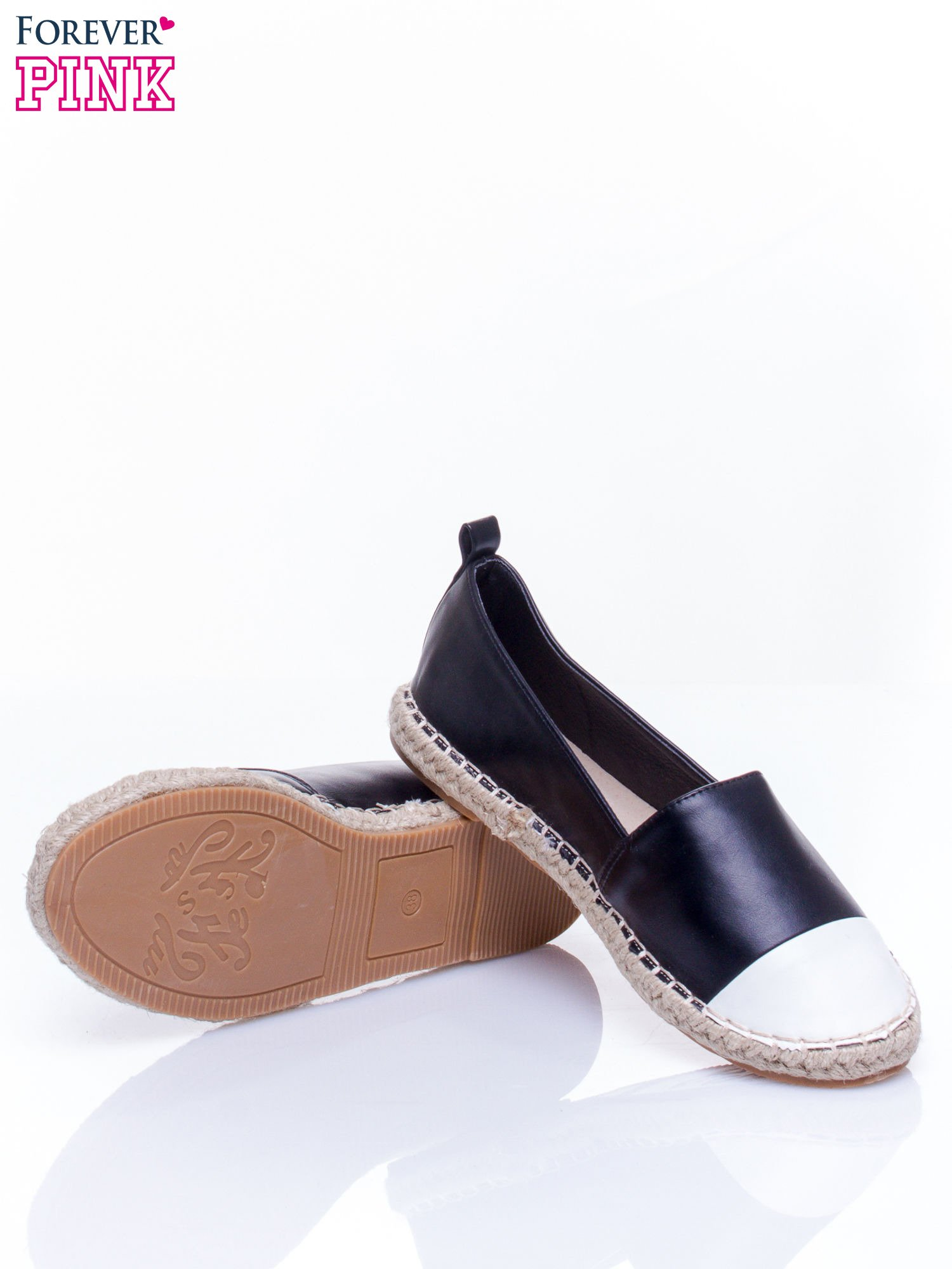 Czarne espadryle faux leather Madeleine two tone                                  zdj.                                  5