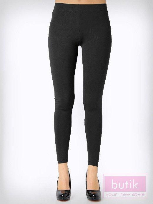 Czarne gładkie legginsy bawełniane                                  zdj.                                  3
