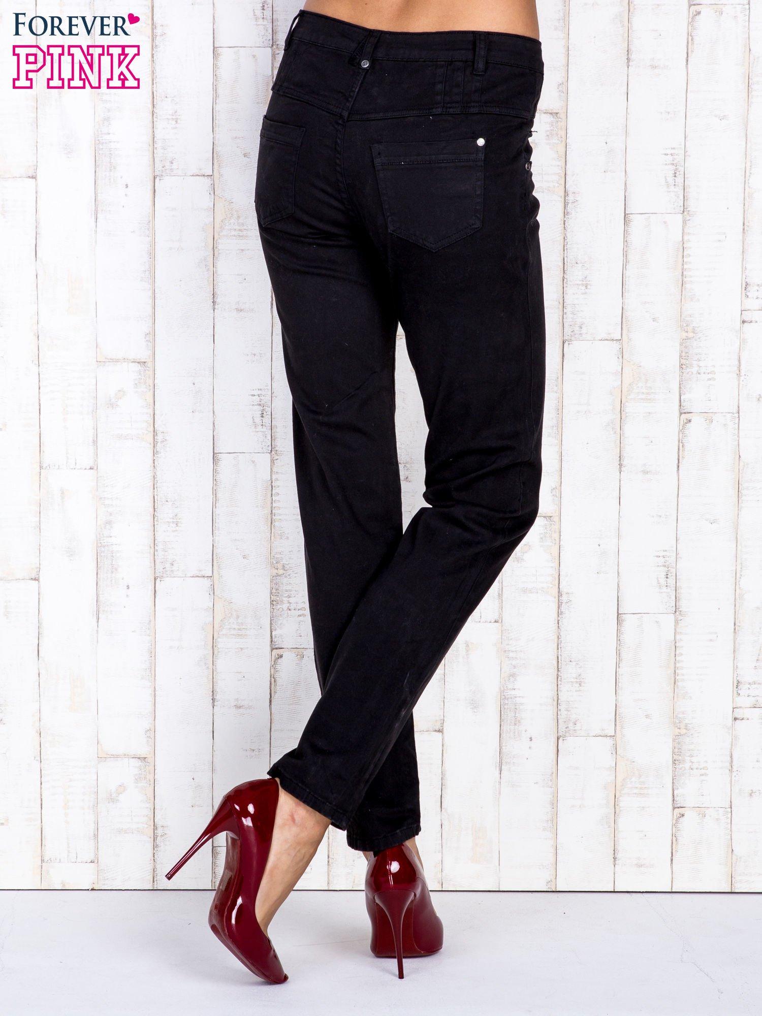Czarne jeansowe spodnie skinny z wysokim stanem                                  zdj.                                  2