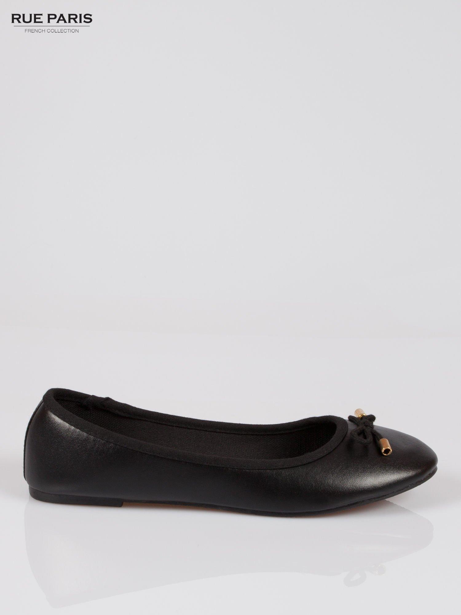Czarne klasyczne baletki  kokardką ze złotymi troczkami                                  zdj.                                  1