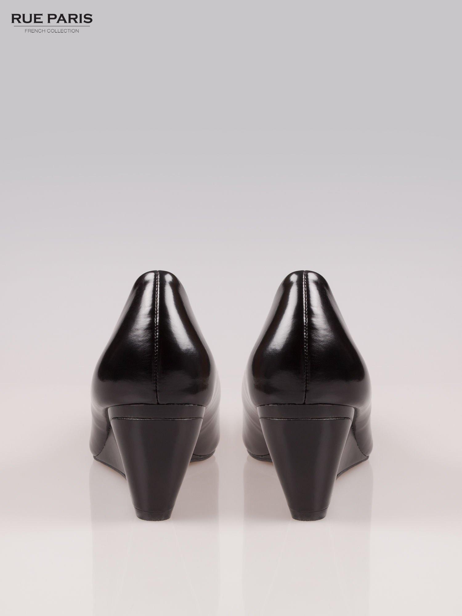 Czarne klasyczne koturny faux leather Mary                                  zdj.                                  3