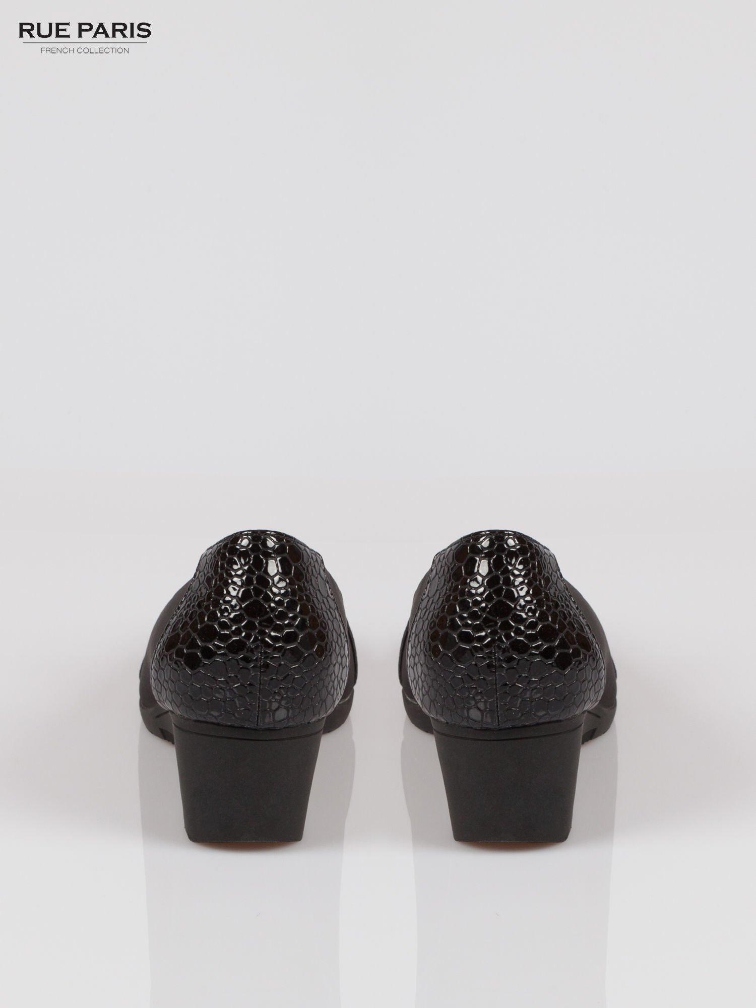 Czarne koturny z motywem animal skin                                  zdj.                                  3