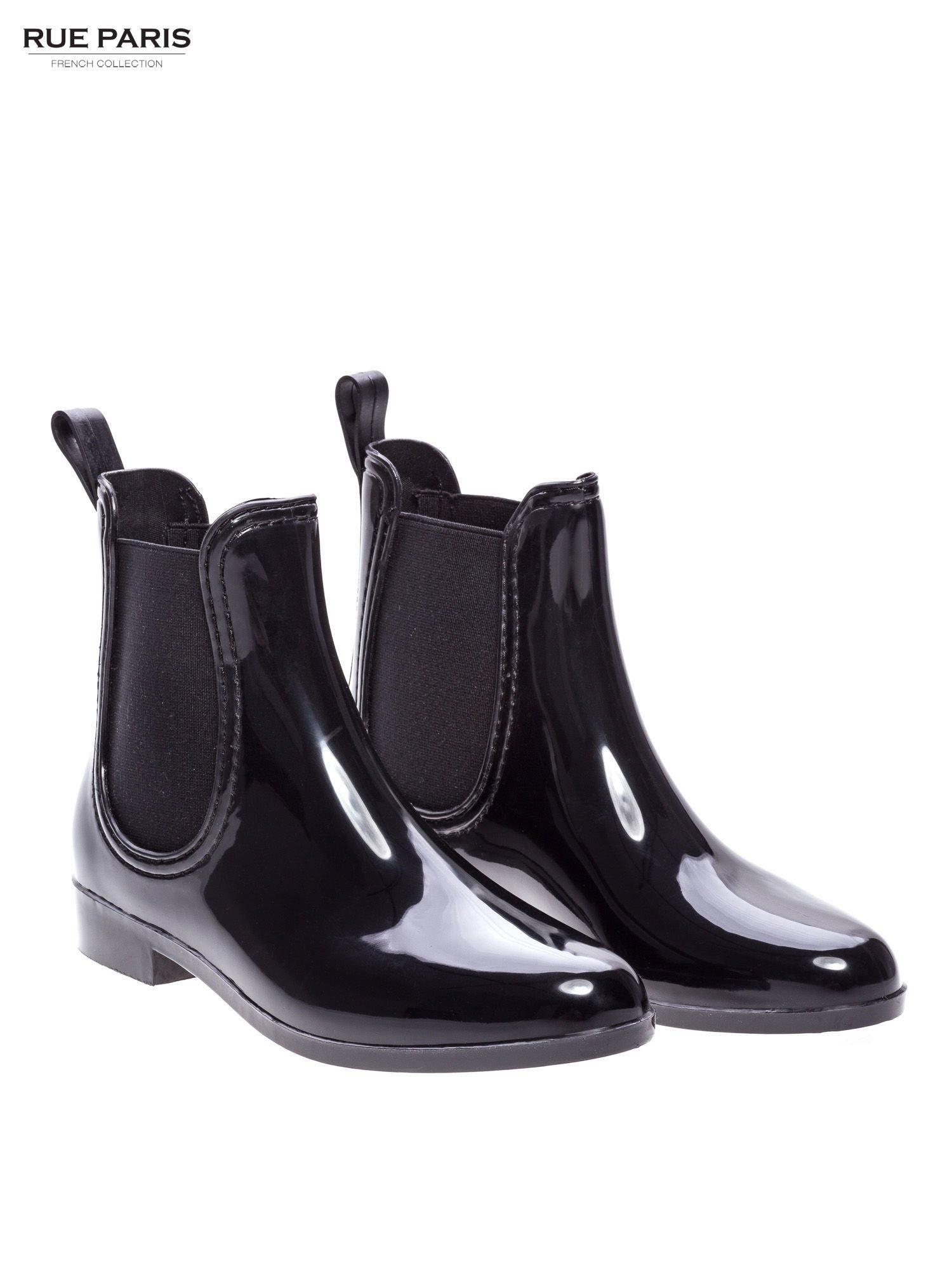 a9d1b6b18ec0e Czarne krótkie lakierowane kalosze w stylu sztybletów - Buty Kalosze ...