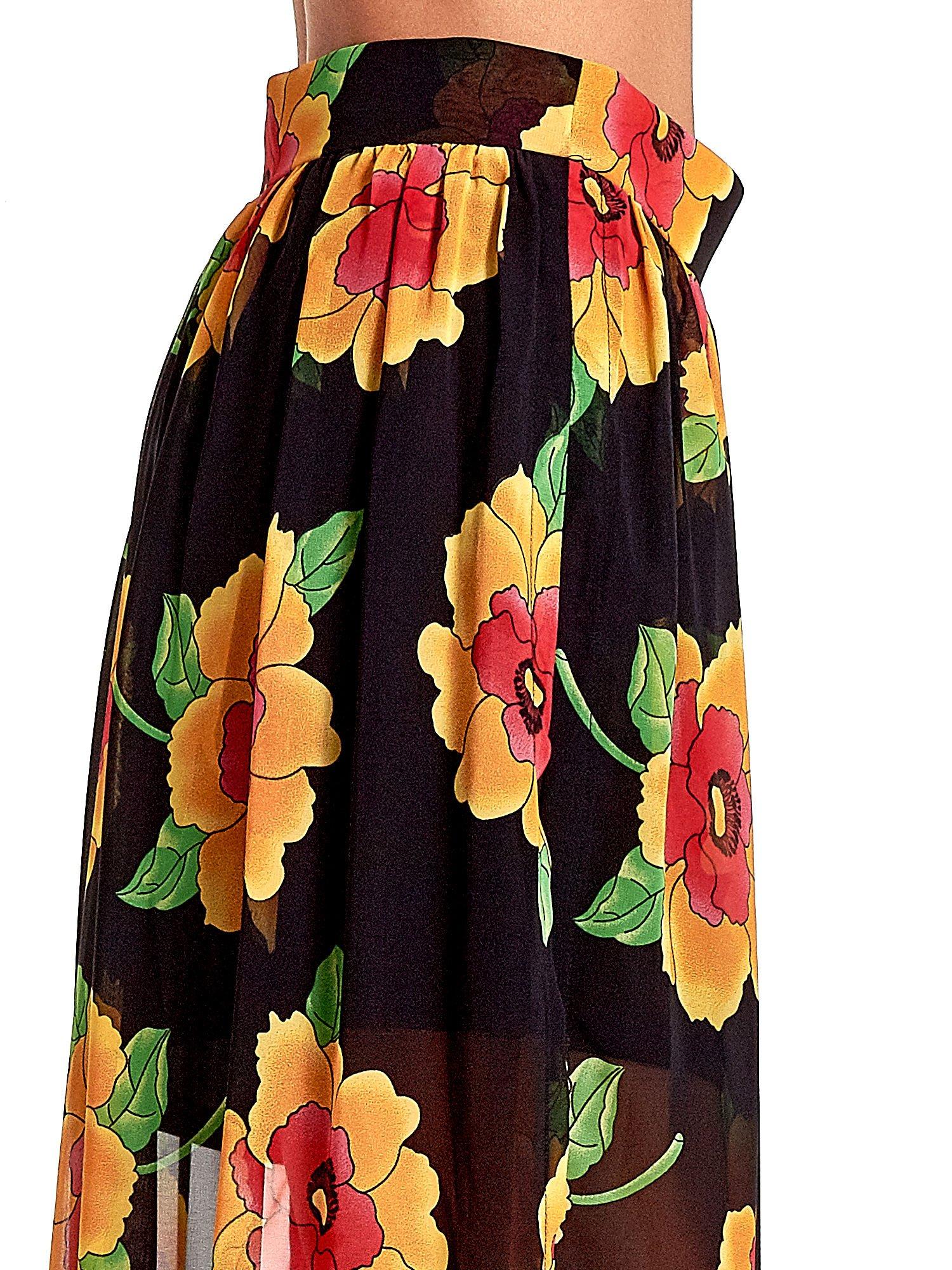 Czarne kwiatowe zwiewne spodnie culottes                                  zdj.                                  6