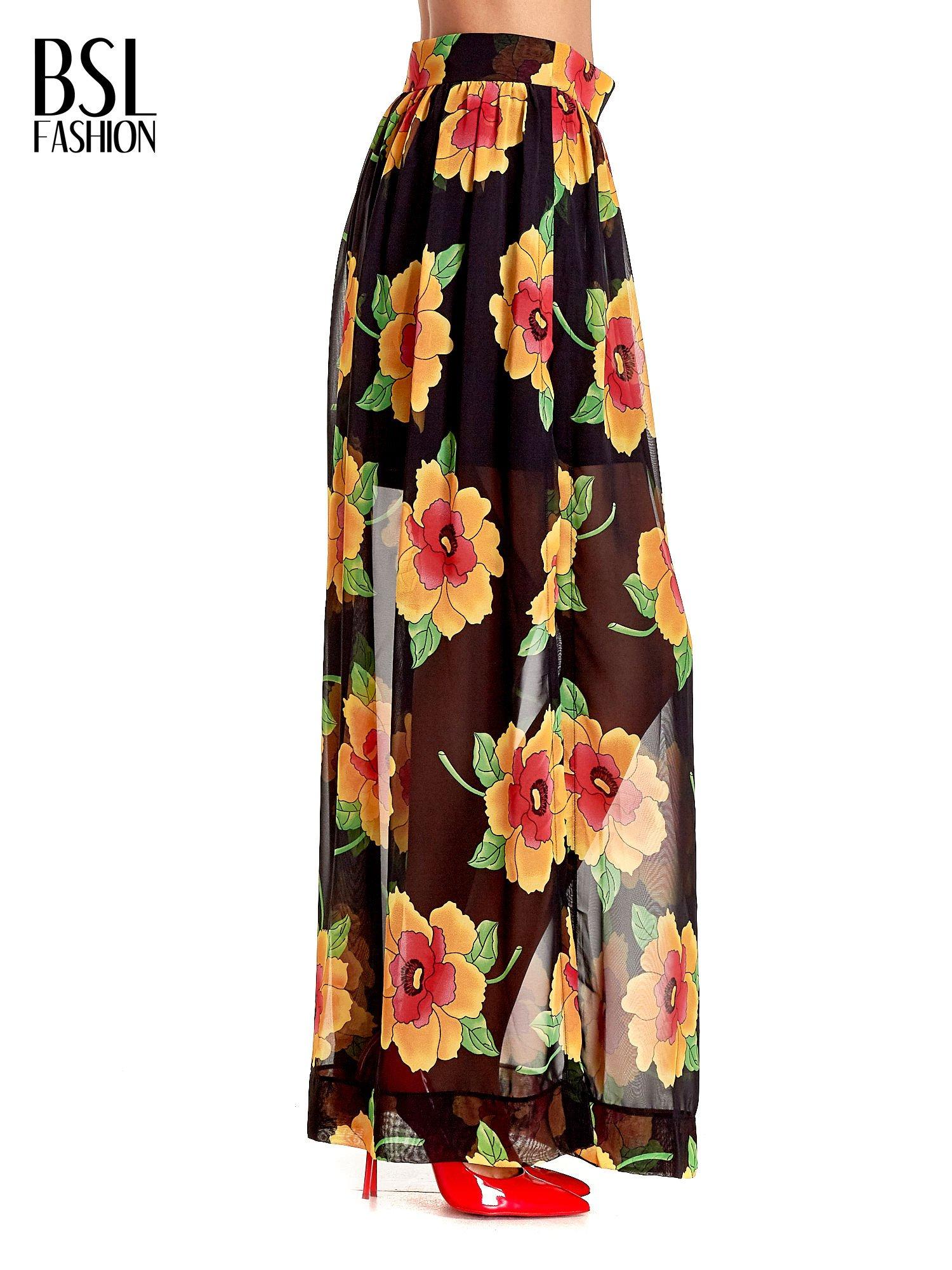 Czarne kwiatowe zwiewne spodnie culottes                                  zdj.                                  3