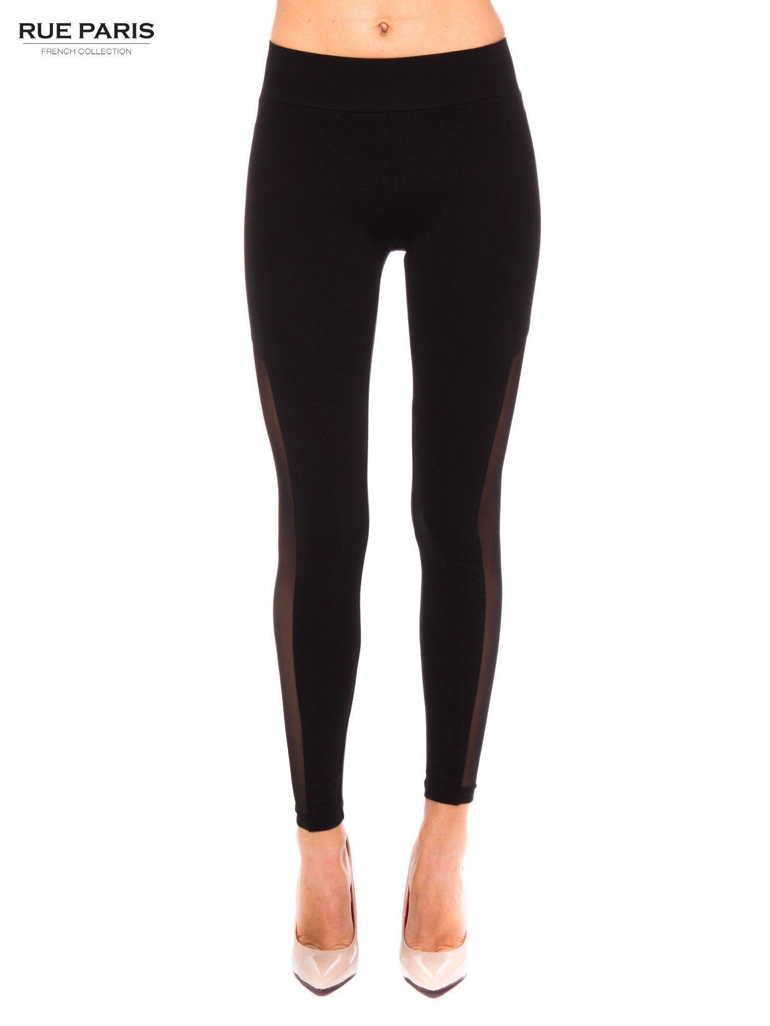 7ff768c3014c04 Czarne legginsy z tiulową siateczką - Spodnie legginsy - sklep eButik.pl