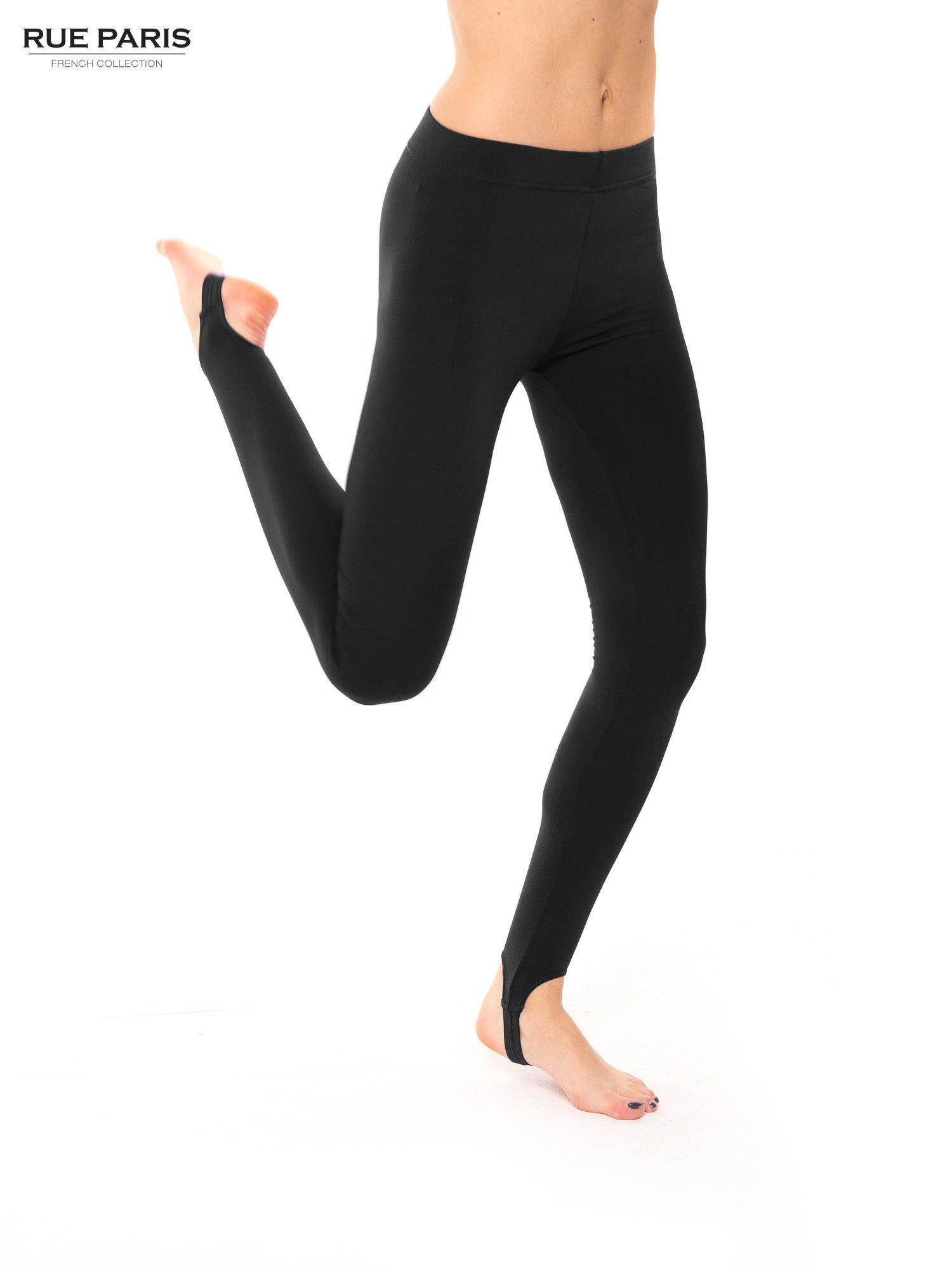Czarne legginsy zakładane na stopę                                  zdj.                                  4