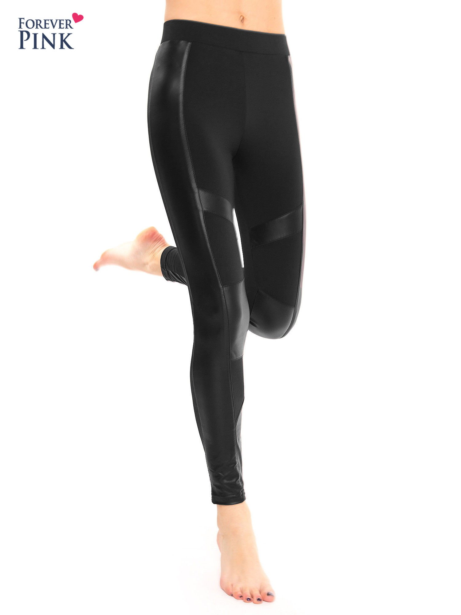 Czarne legginsy ze skórzanymi przeszyciami                                  zdj.                                  7