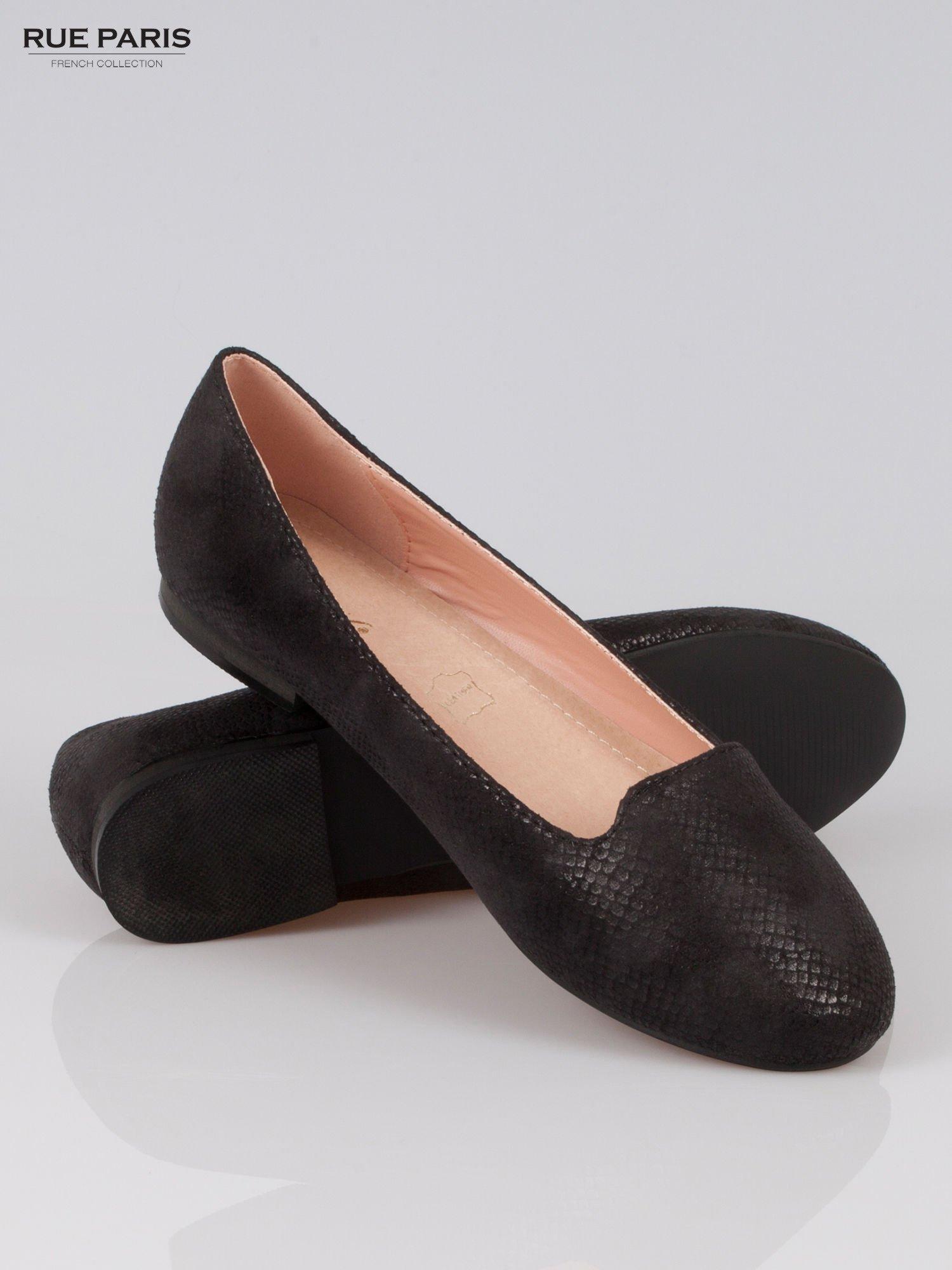 Czarne lordsy faux leather Mess Around z wężowej skórki                                  zdj.                                  4