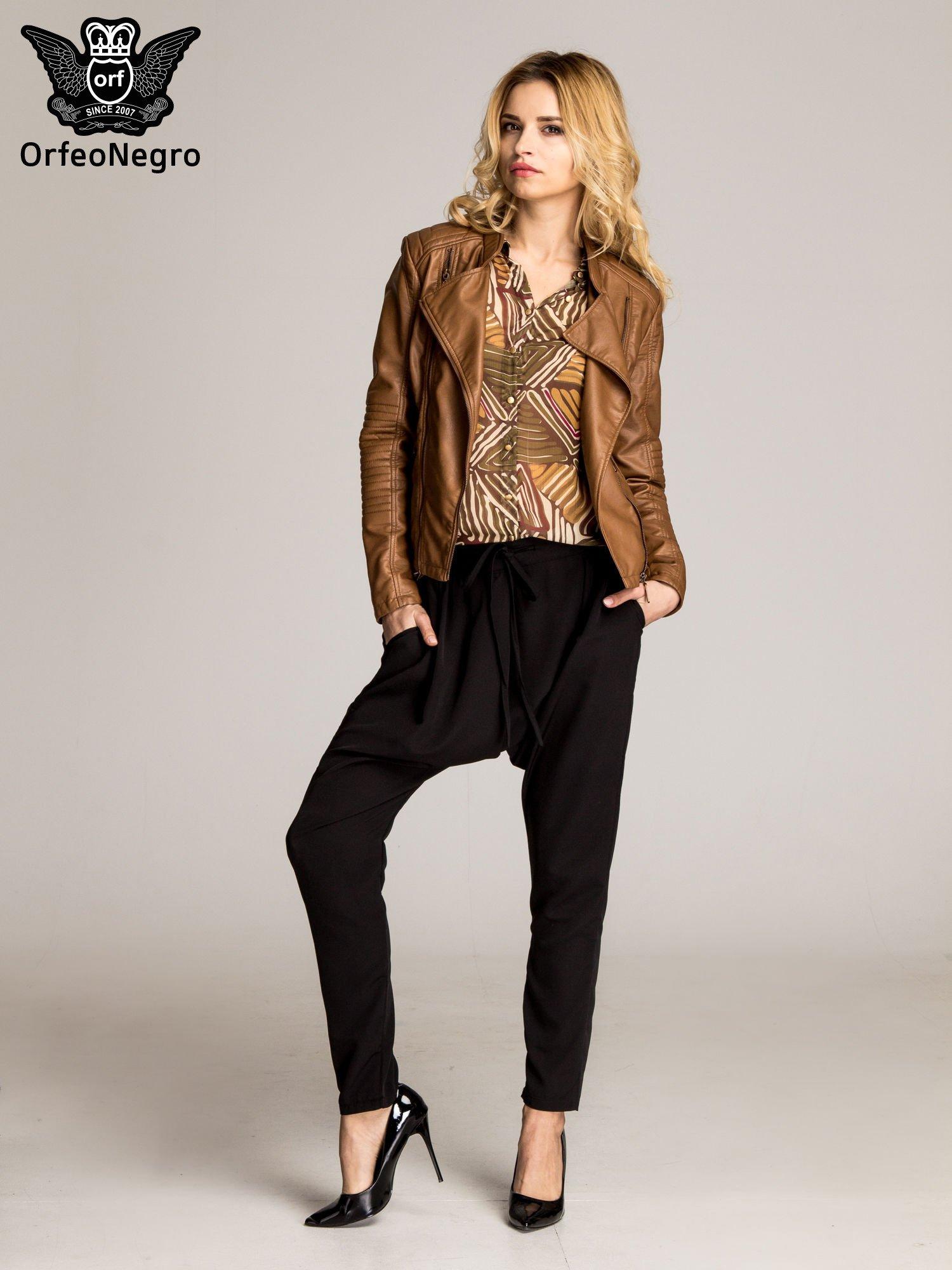 Czarne materiałowe spodnie baggy                                  zdj.                                  2