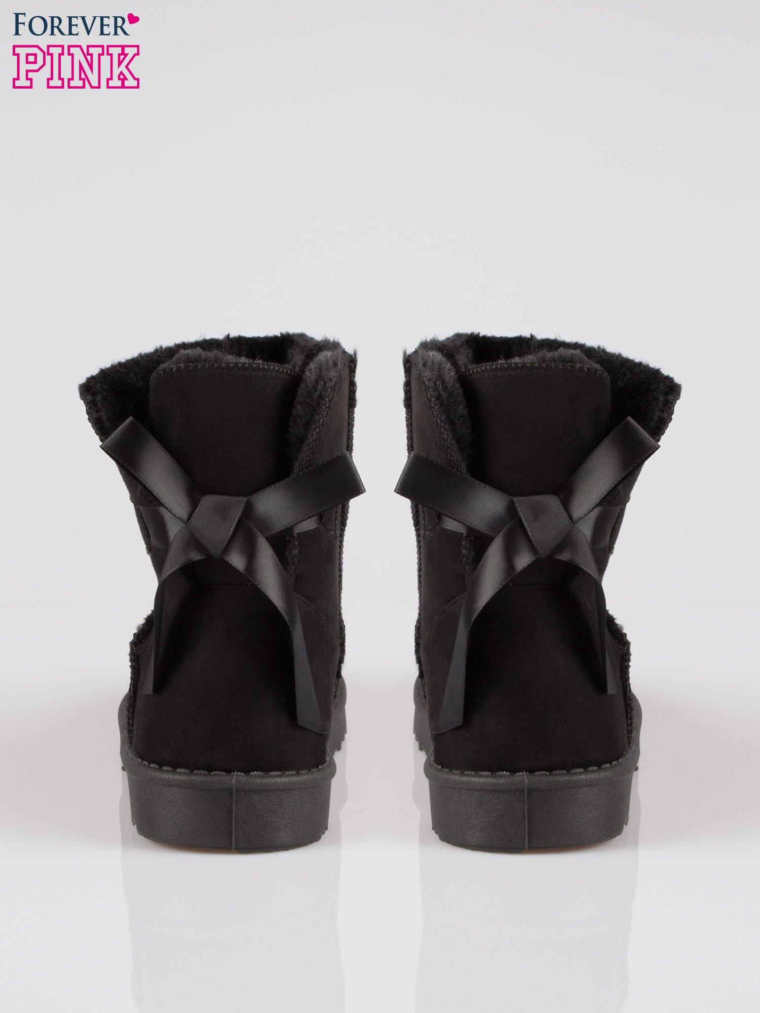 Czarne niskie śniegowce zawiązywane na wstążkę                                  zdj.                                  3