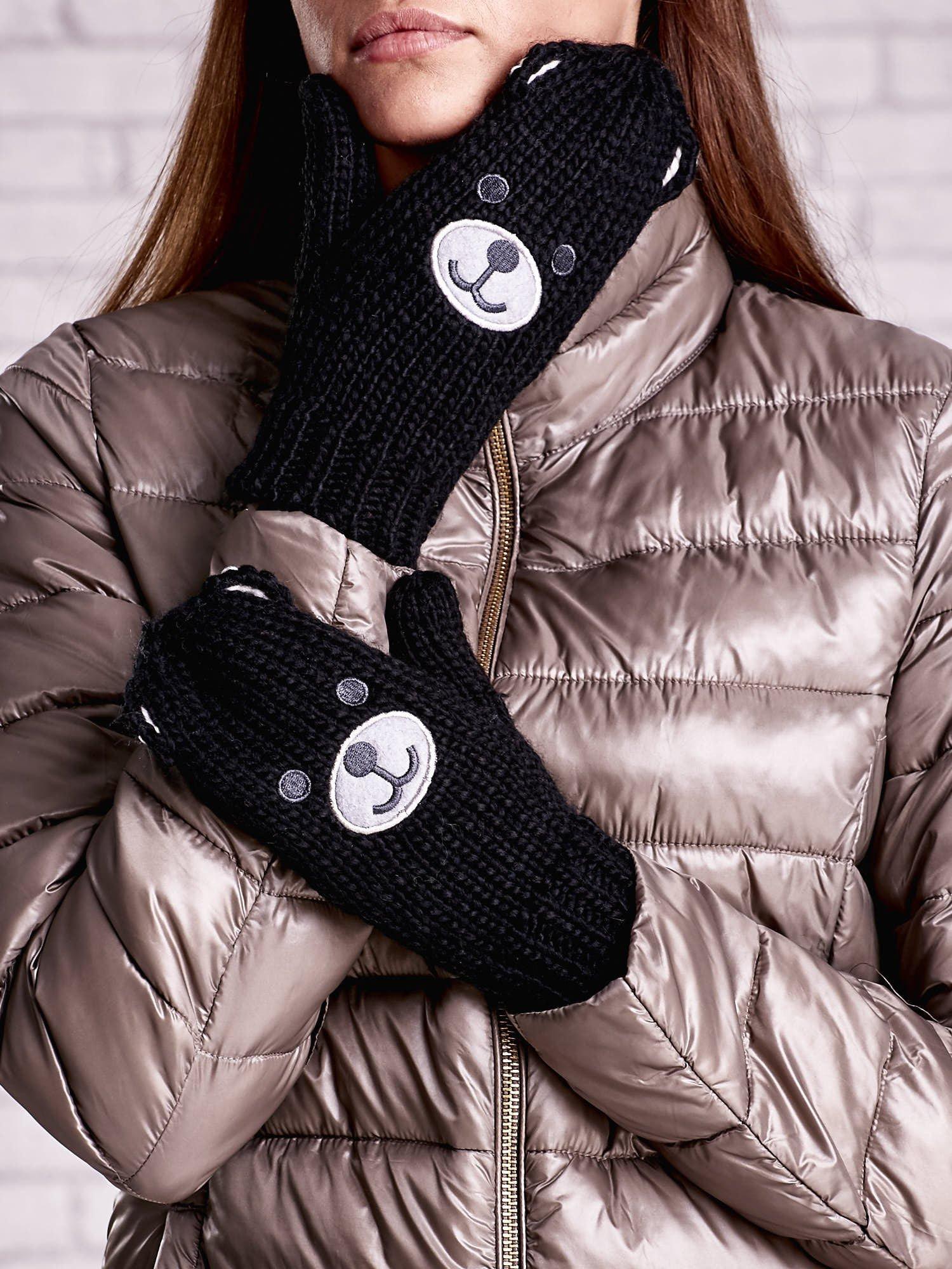 Czarne rękawiczki w kształcie misia                                  zdj.                                  2
