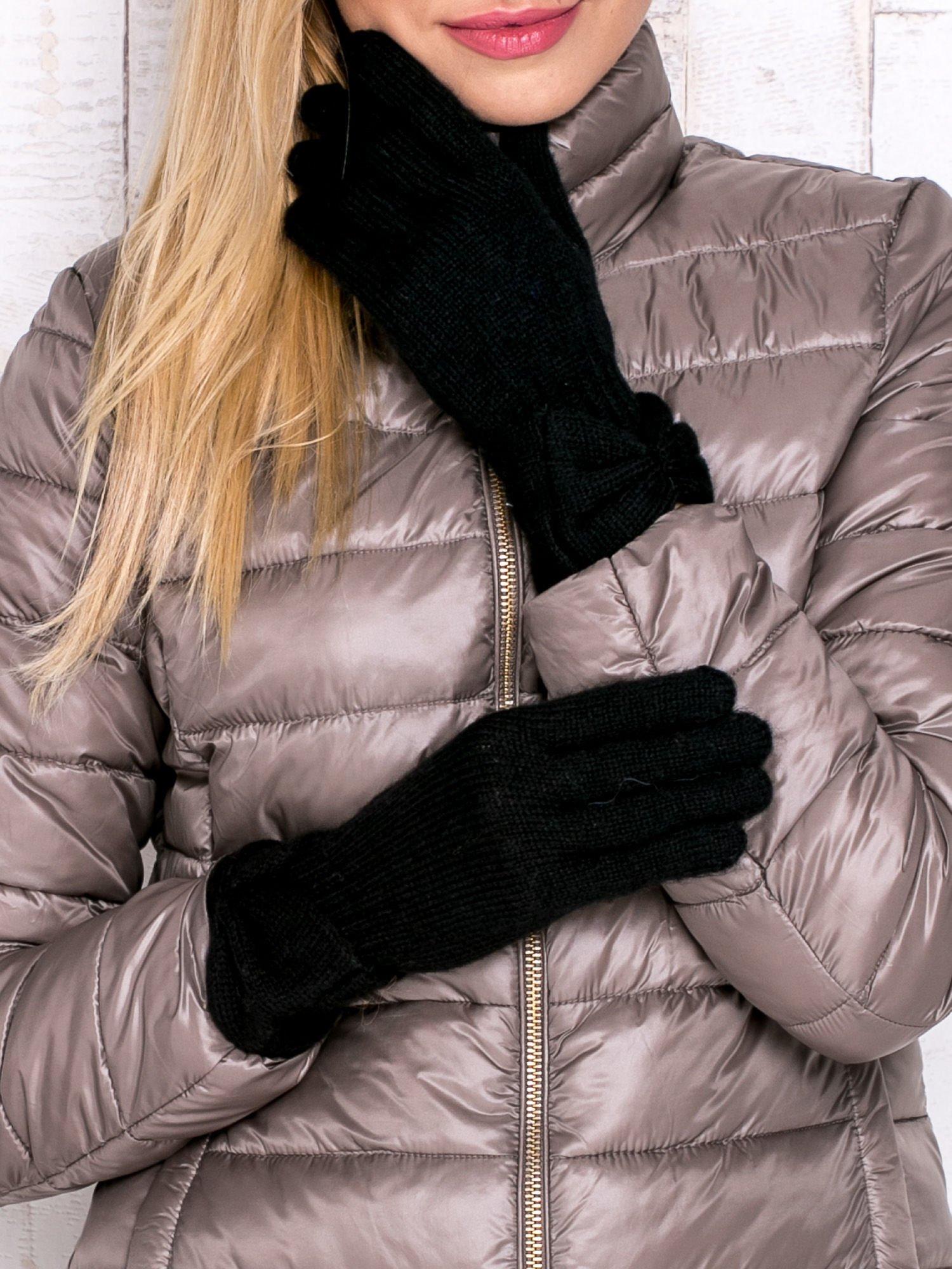 Czarne rękawiczki z kokardą w stylu retro                                  zdj.                                  1