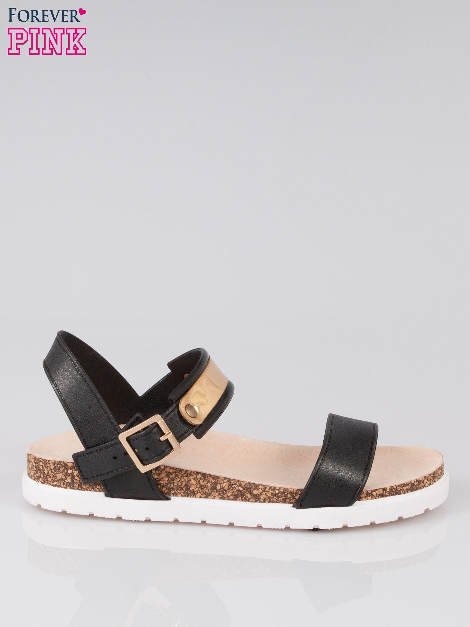 Czarne sandały damskie z blaszką                                  zdj.                                  1