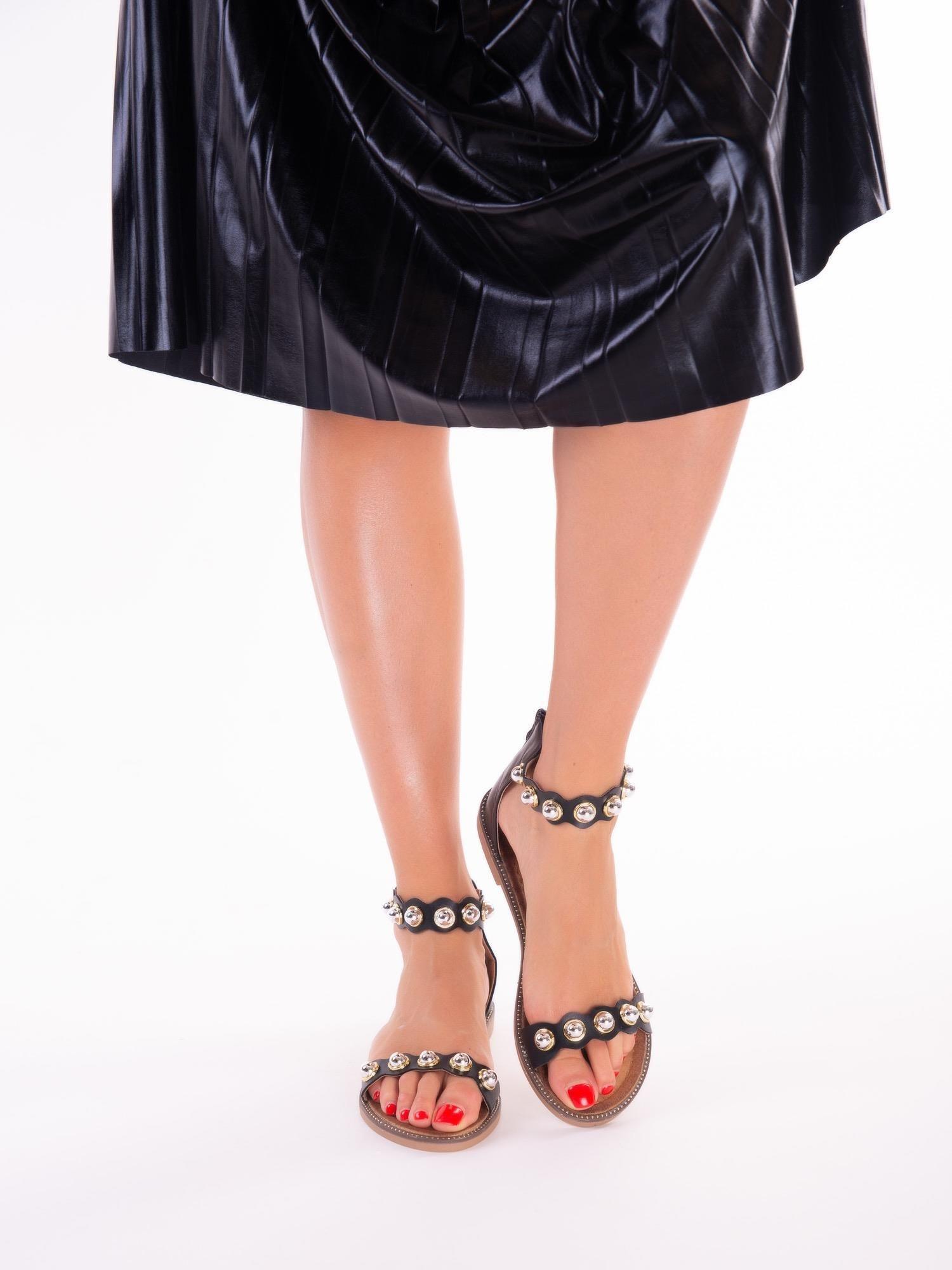 26ed0a4cc7142 Na Cholewki Z Zapięciem Sandały Czarne Suwak Tyłu Buty qf4taw