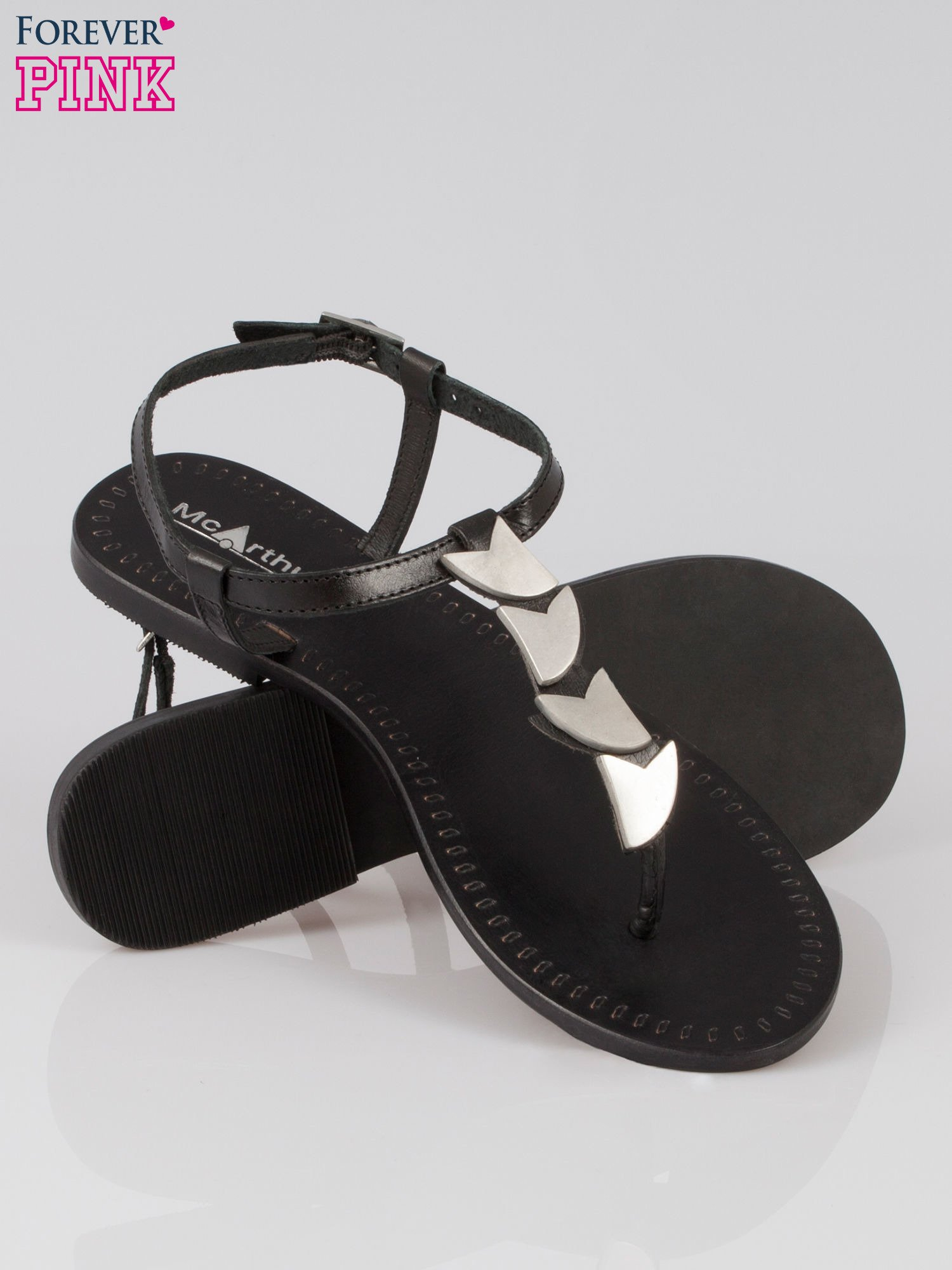 Czarne skórzane sandały japonki ze złotą aplikacją                                  zdj.                                  4