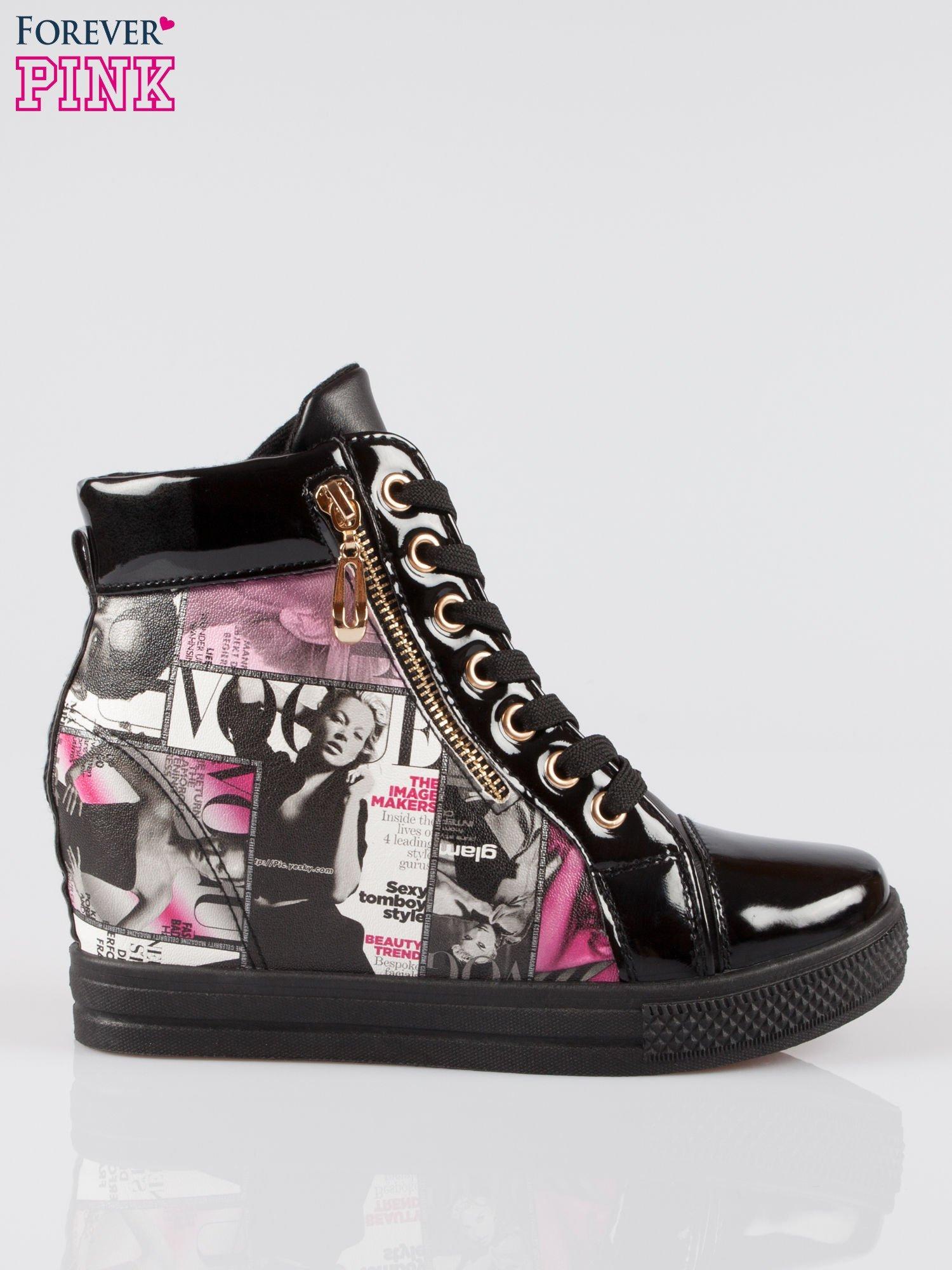 Czarne sneakersy damskie z nadrukiem magazine print Everywhere                                  zdj.                                  1