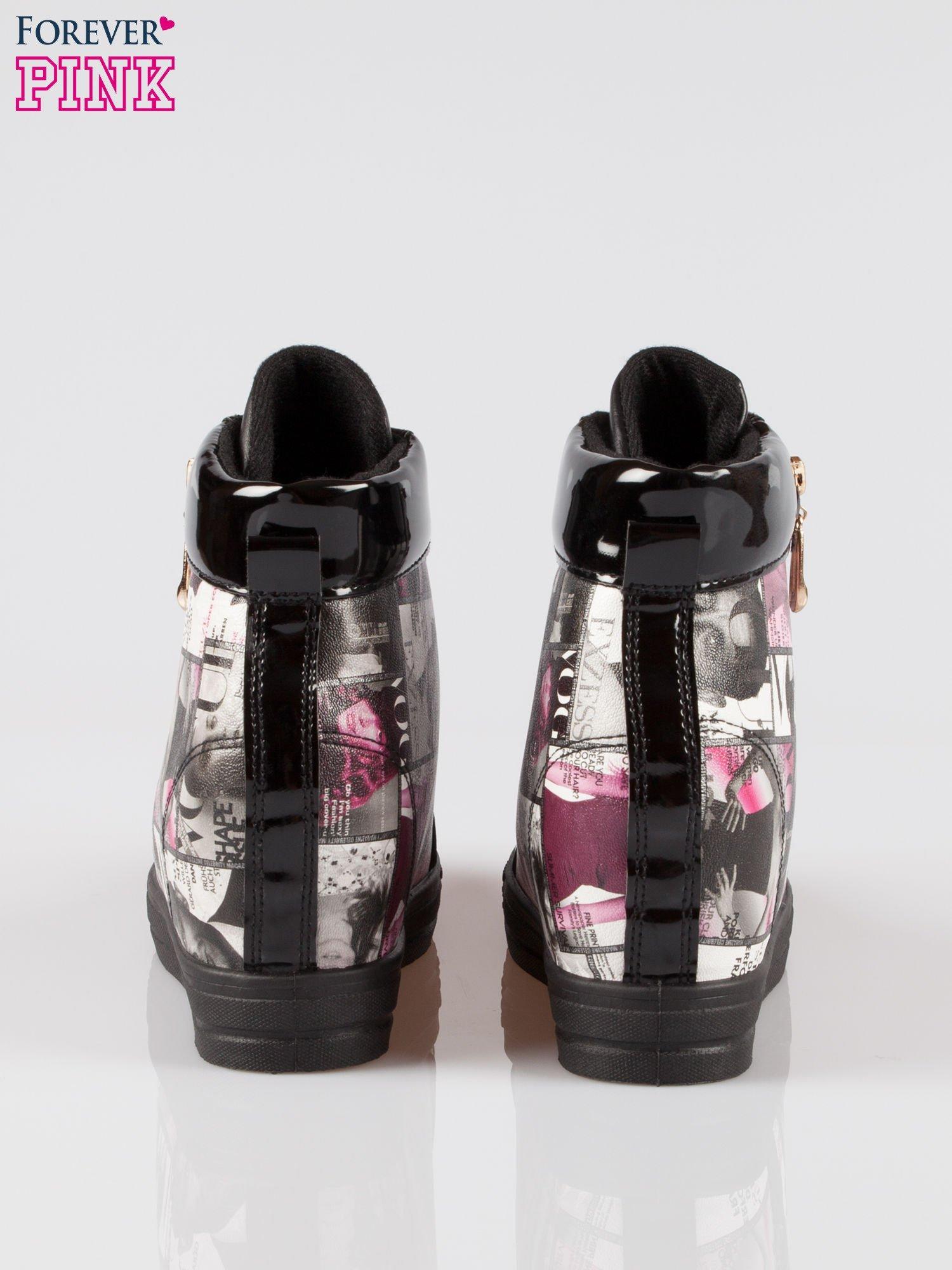 Czarne sneakersy damskie z nadrukiem magazine print Everywhere                                  zdj.                                  3