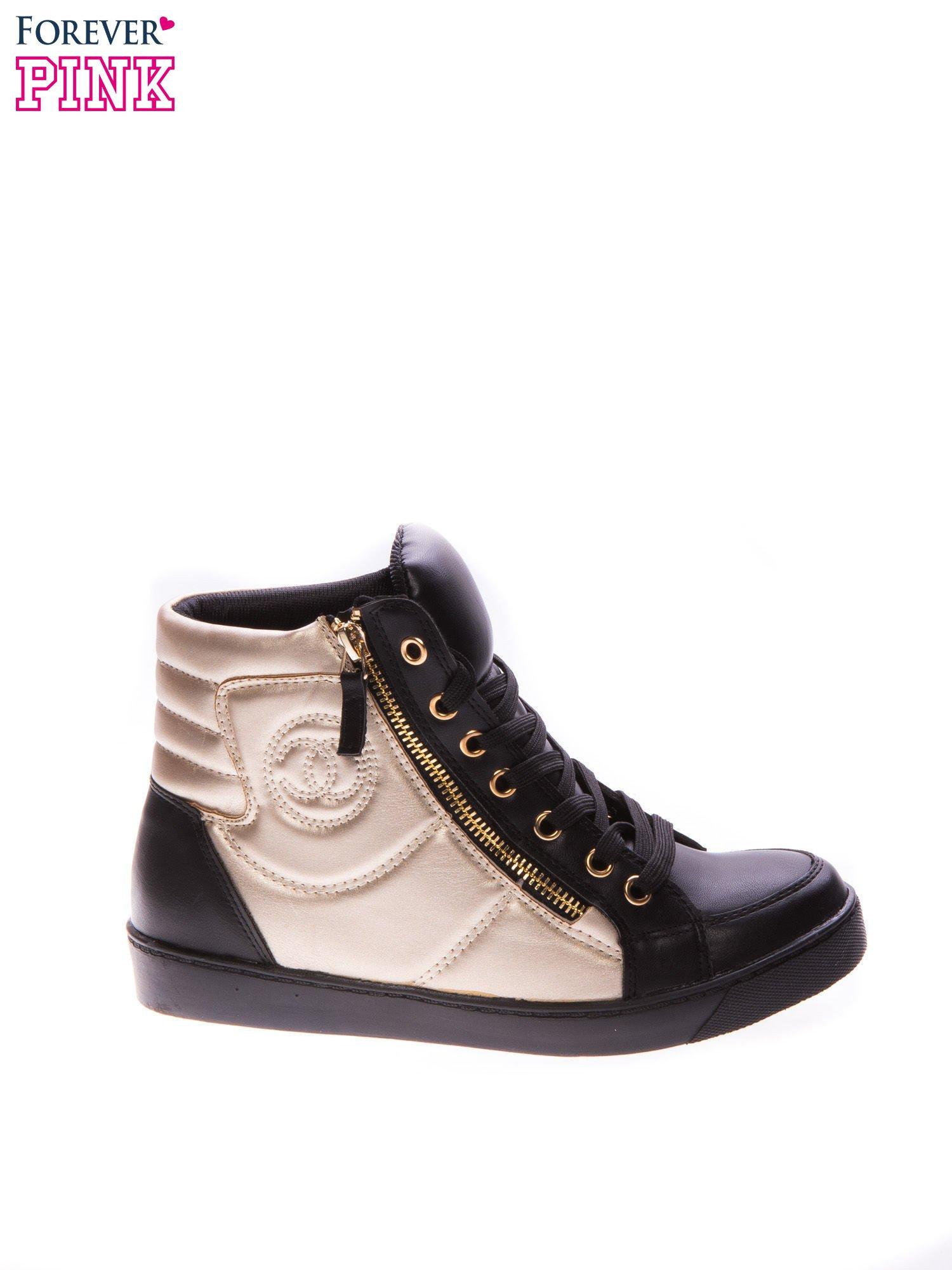 Czarne sneakersy za kostkę ze złotą wstawką i suwakiem                                  zdj.                                  1