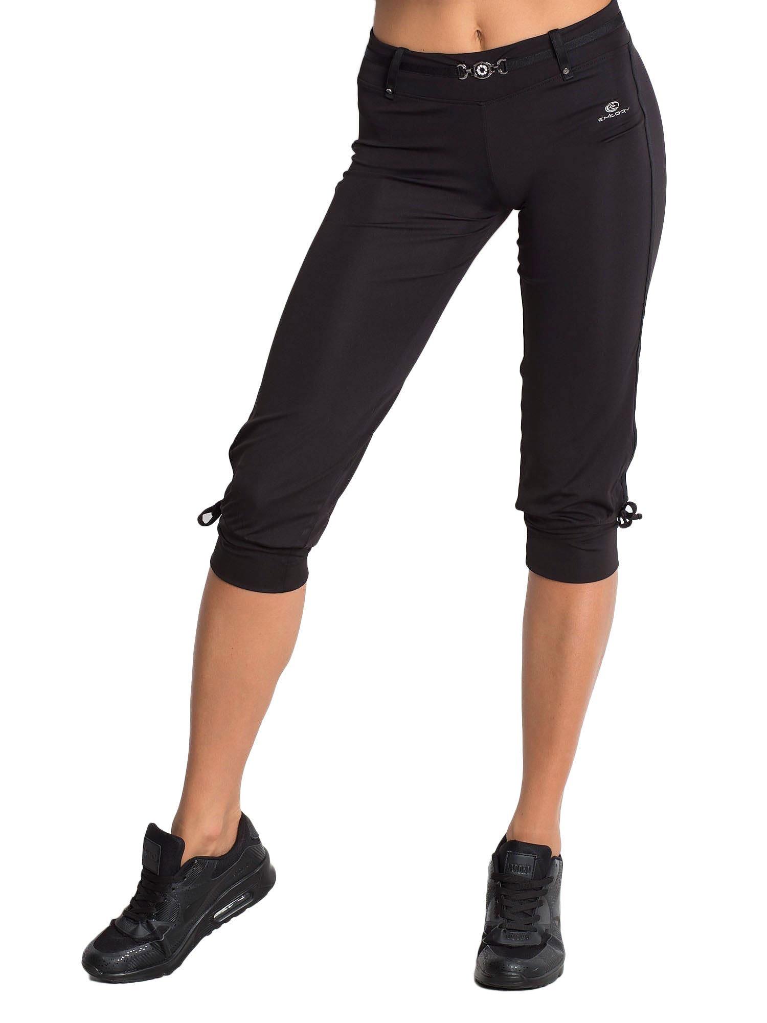 Czarne spodnie capri z troczkami przy nogawkach                                  zdj.                                  5