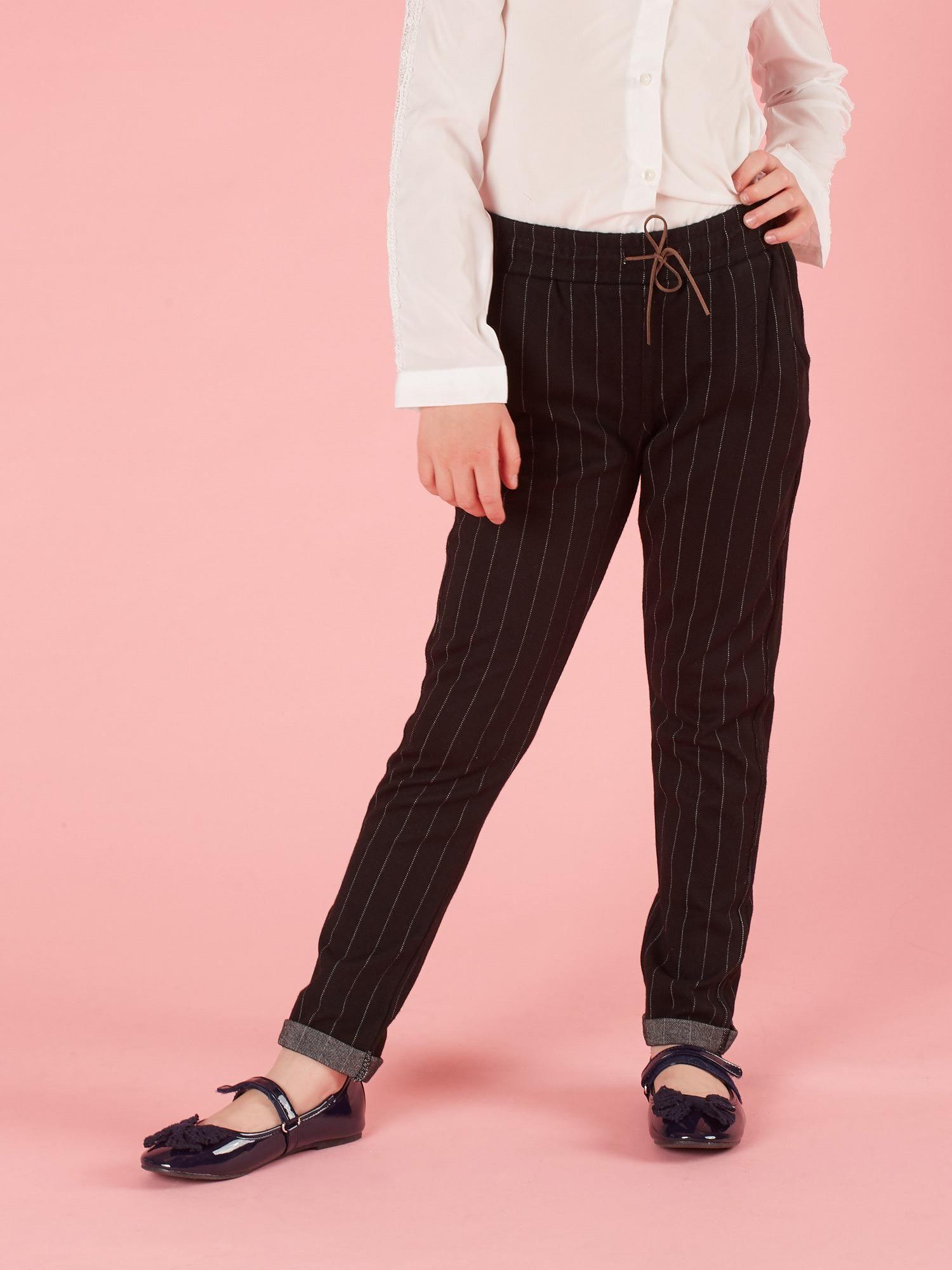 5e86ae7cc Czarne spodnie dla dziewczynki w paski - Dziecko Dziewczynka - sklep  eButik.pl