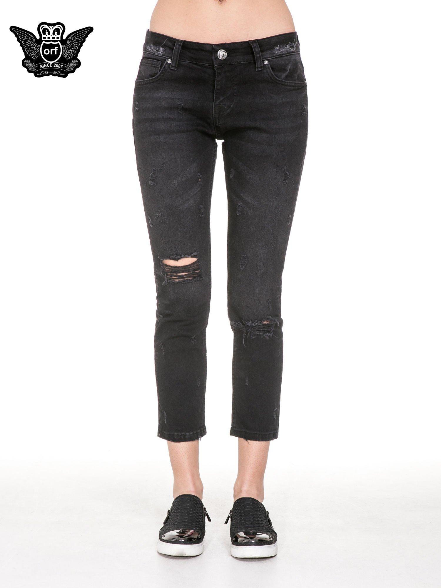 Czarne spodnie jeansowe 7/8 z rozdarciami                                  zdj.                                  5
