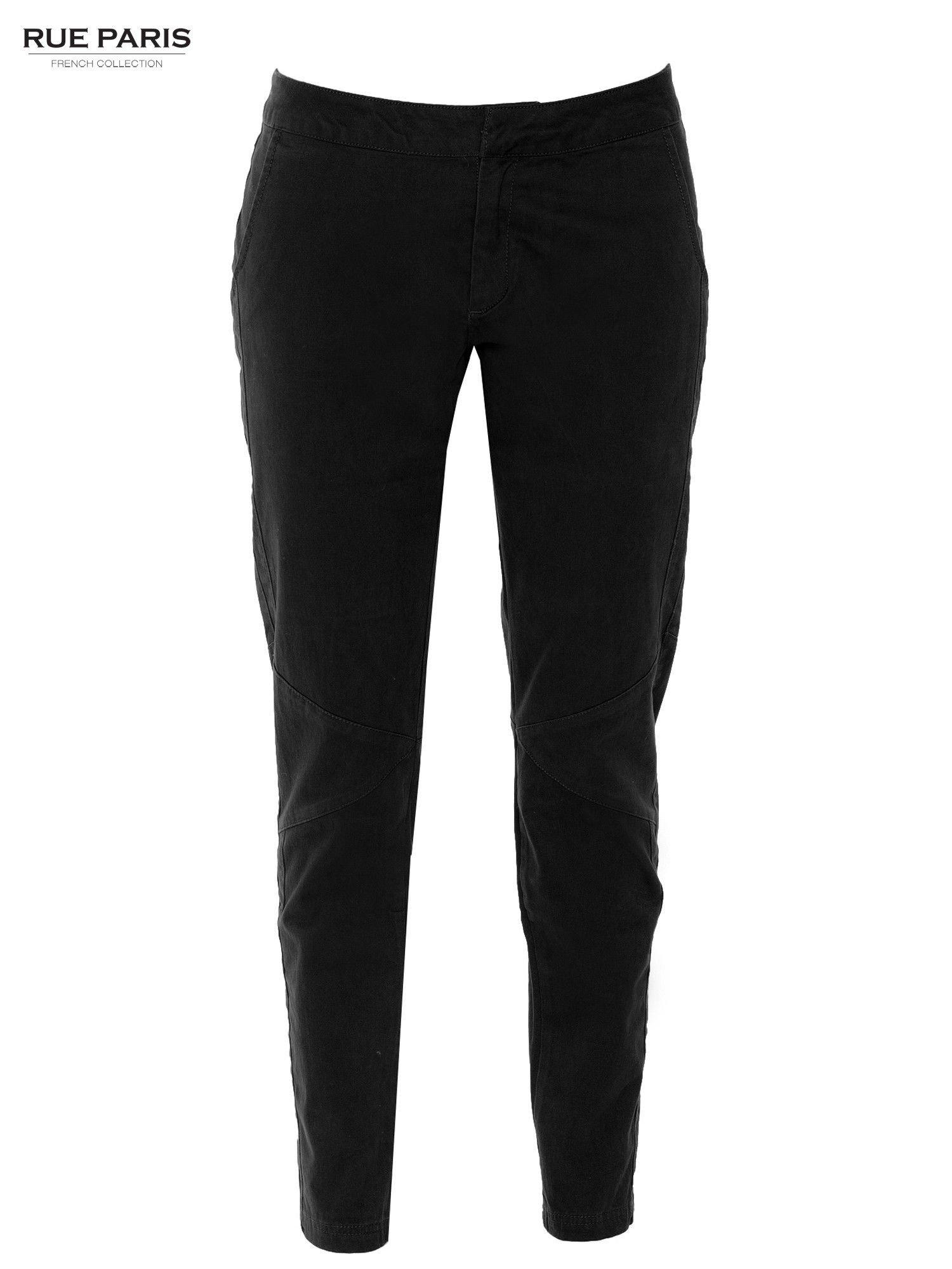 Czarne spodnie materiałowe z przeszyciami na kolanach                                  zdj.                                  8