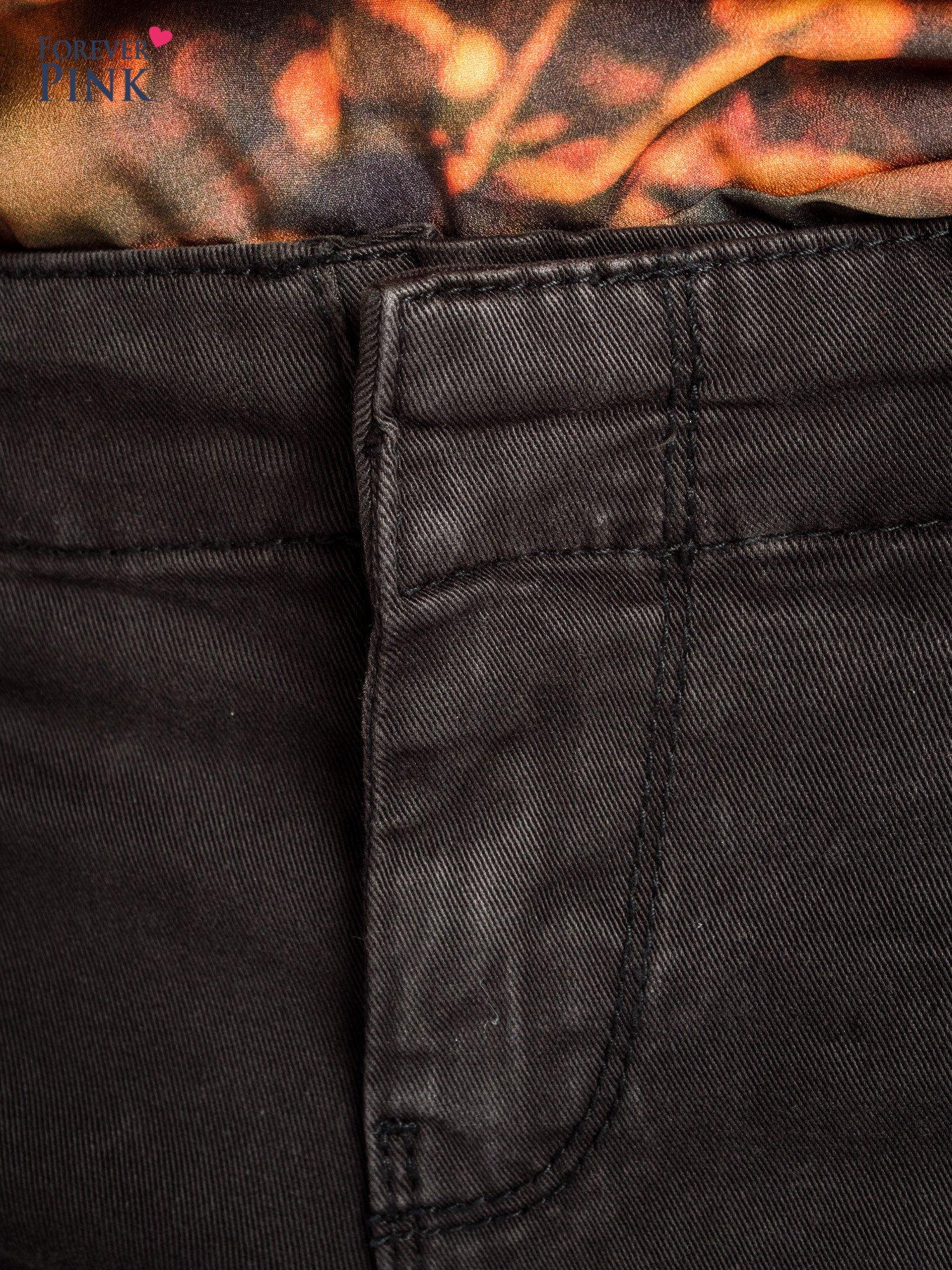 Czarne spodnie typu rurki z suwakami wzdłuż nogawek i z przodu                                  zdj.                                  3