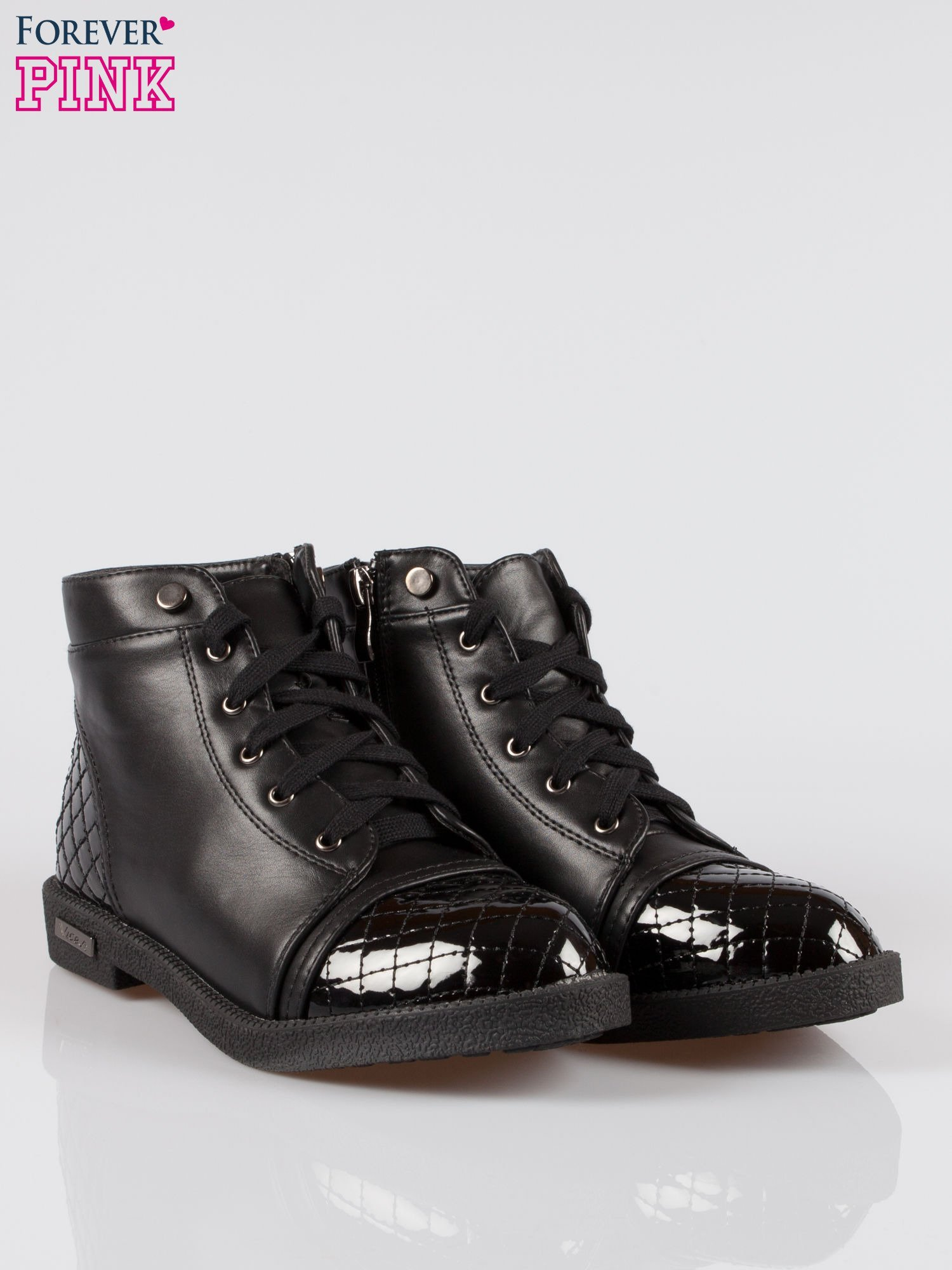 Czarne sznurowane botki damskie crocodile skin cap toe                                  zdj.                                  2