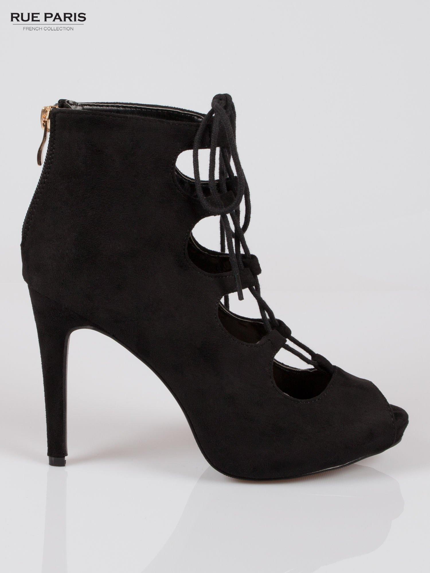 Czarne sznurowane botki lace up open toe z zamkiem                                  zdj.                                  1