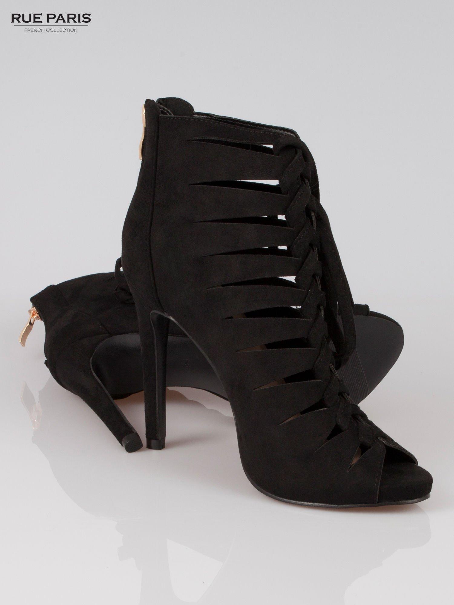 Czarne sznurowane botki lace up z zamkiem                                  zdj.                                  4