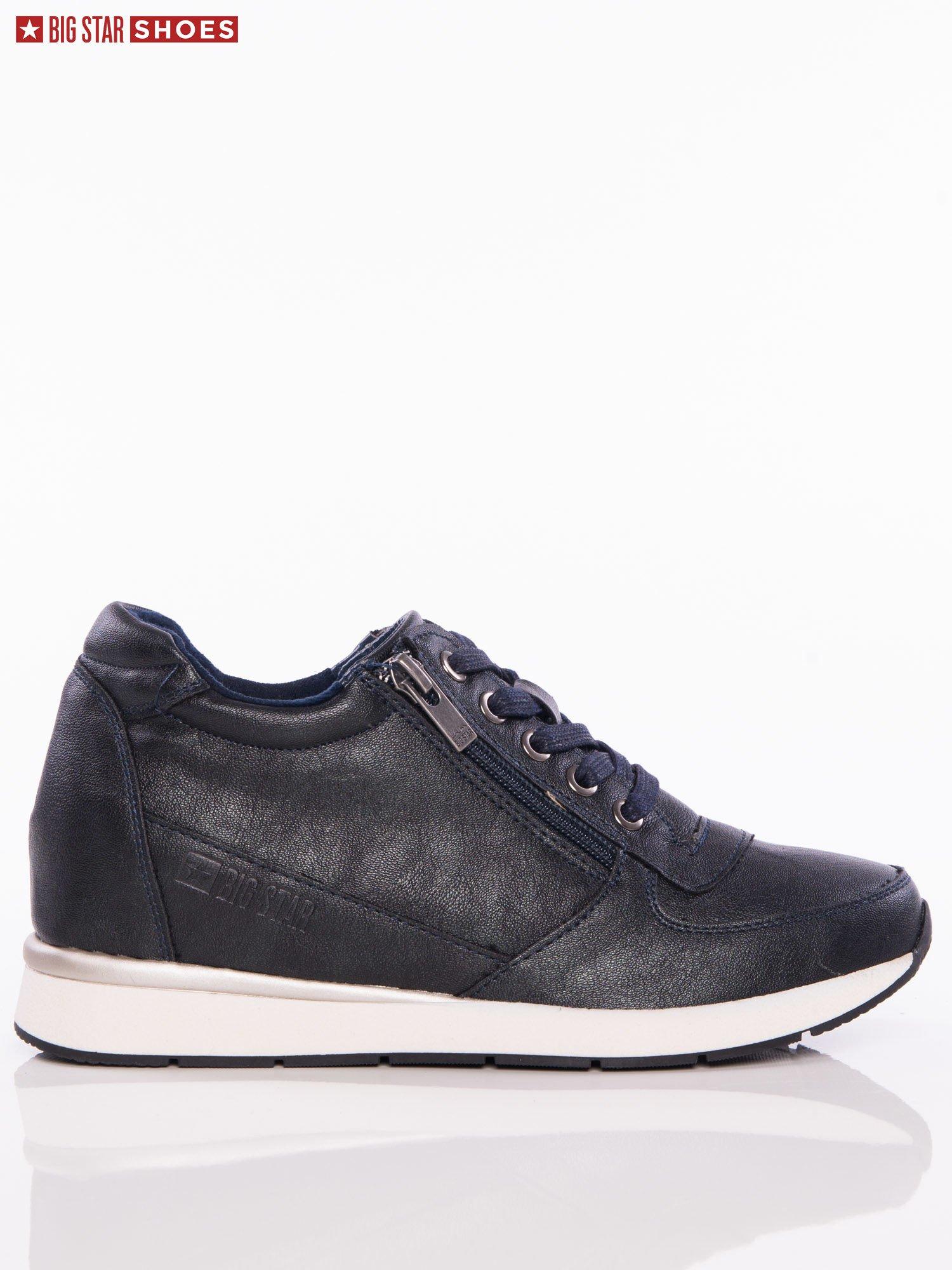 7c803b836f3ca3 Czarne sznurowane buty sportowe BIG STAR na sprężystej podeszwie ze srebrną  wstawką ...